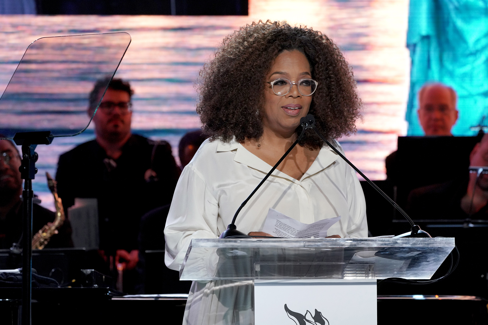 Oprah Winfrey Bought Present Prince Harry Duchess Meghan Royal Baby - Oprah Winfrey speaks onstage at the Statue Of Liberty Museum Opening Celebration on May 15, 2019 at Ellis Island in New York City.