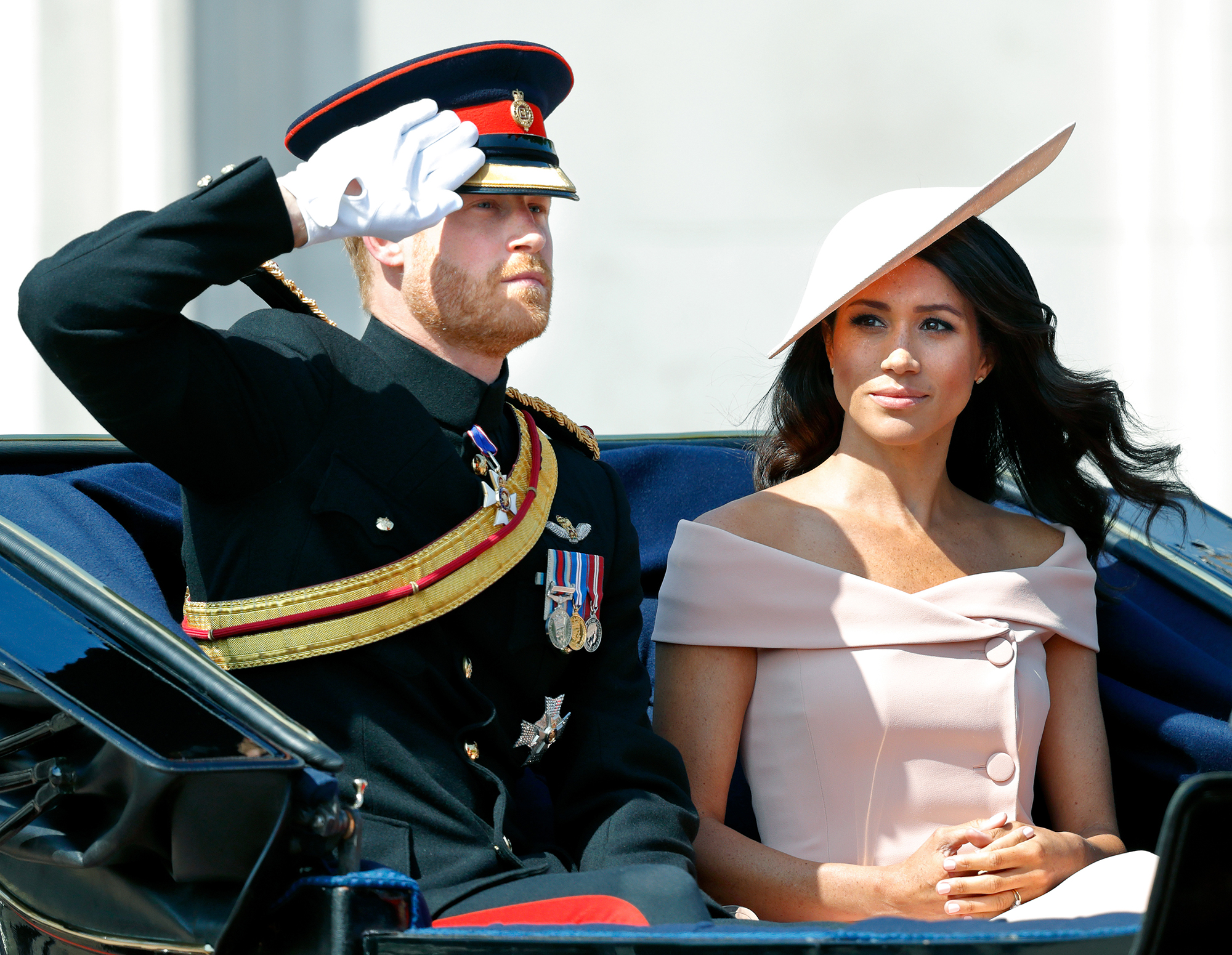 """Prince Harry and Duchess Meghan's 1st Year of Marriage - The newly minted Duke and Duchess of Sussex made their first post-honeymoon appearance at London's Trooping the Colour in June 2018. A source told Us at the time that Meghan was """"happy"""" the wedding was over ."""