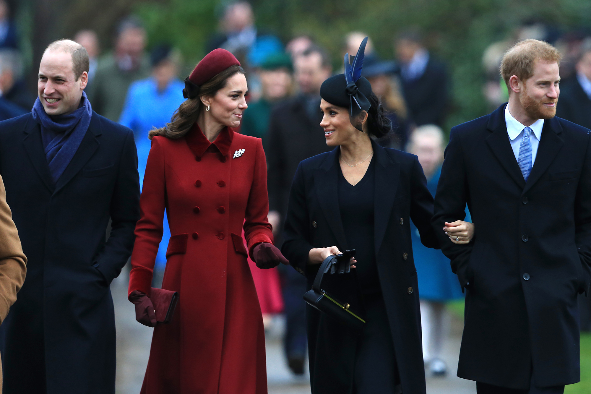 Prince Harry and Duchess Meghan's 1st Year of Marriage - After news broke that Harry and Meghan were set to move, reports surfaced that the twosome were feuding with Prince William and Duchess Kate, who reside in London. The family put up a united front at Christmas mass in December 2018 before spending the holiday at the palace with Queen Elizabeth II .