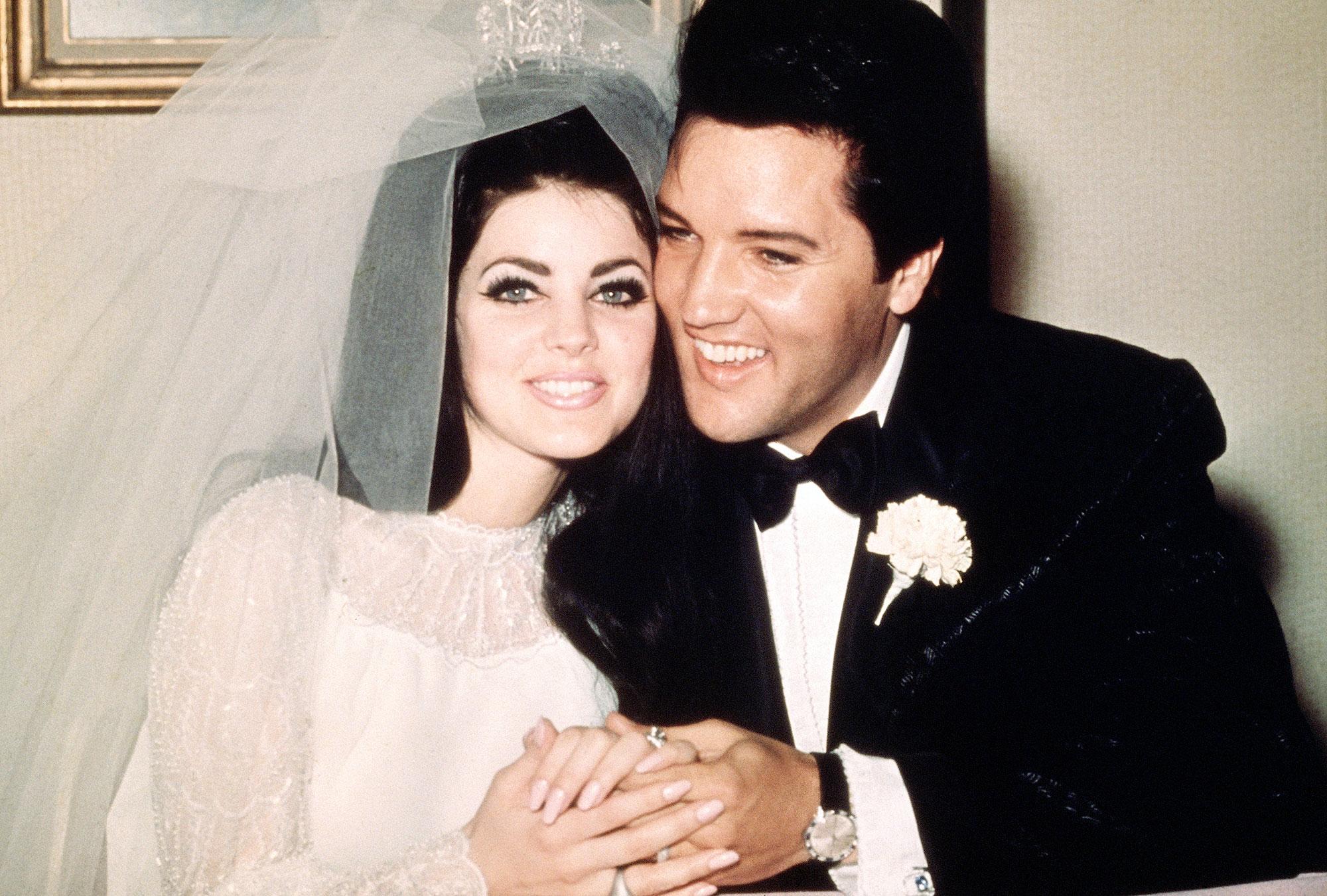 Priscilla Presley Elvis Wedding Anniversary Joe Jonas Sophie Turner Married - Priscilla Presley and Elvis Presley on their wedding day, May 1, 1967.