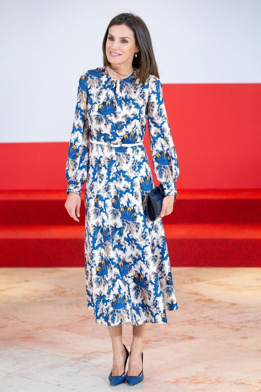 Queen Letizia blue print dress