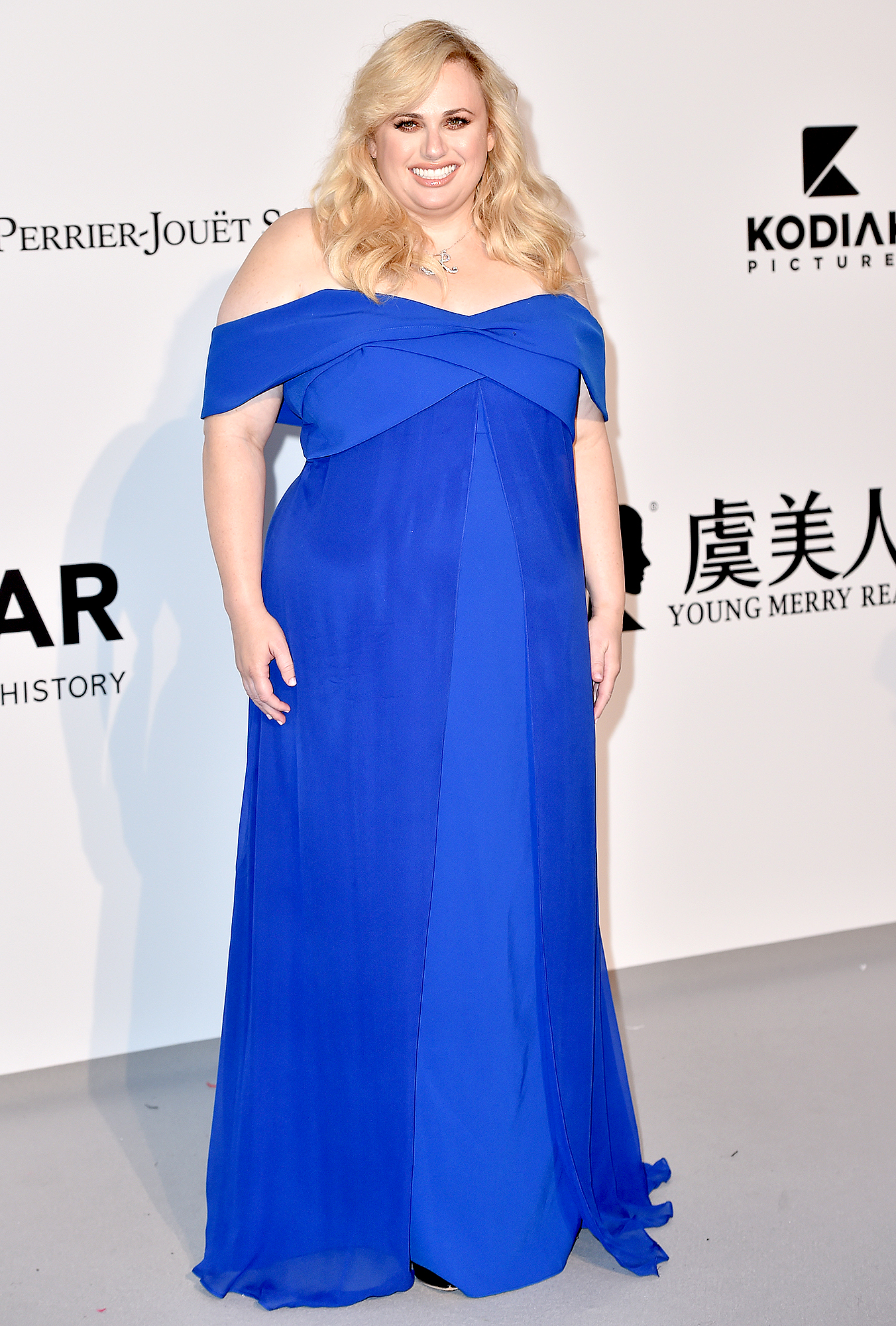 Rebel-Wilson - At the amfAR Cannes Gala on Thursday, May 23, the comedian opted for an off-the-shoulder blue Sachin & Babi gown.