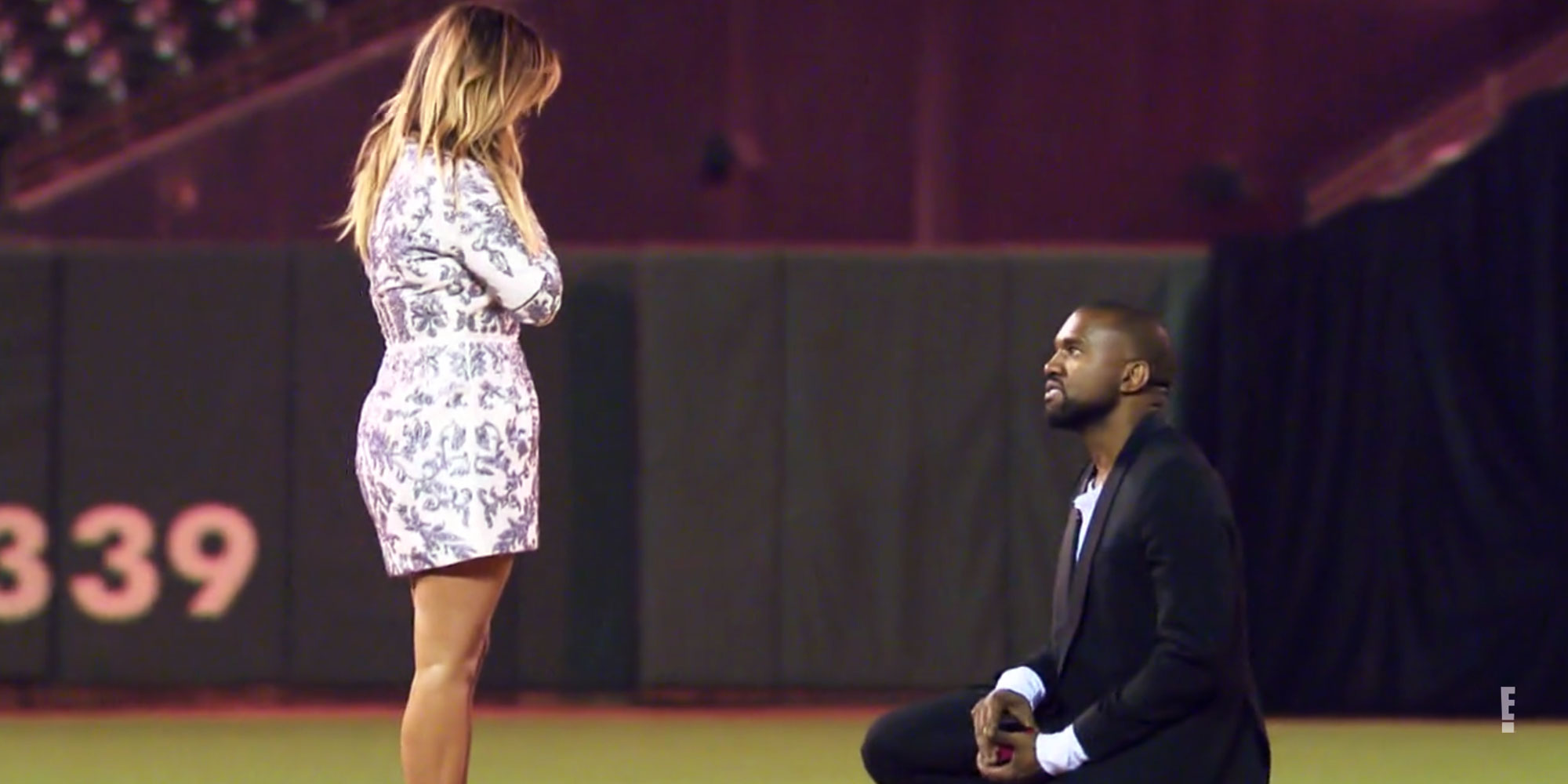"Revisit the 5 Most Kimye Things the Power Couple Have Done Kanye's 2013 proposal at AT&T Park - West surprised Kardashian on her 33rd birthday in October 2013 by renting out San Fransisco's AT&T Park (now called Oracle Park) for a night to remember. He rounded up her friends and family members to witness the occasion, which culminated in West presenting Kardashian with a 15-carat Lorraine Schwartz diamond ring in front of a JumboTron that read, ""PLEEEASE MARRY MEEE!"""