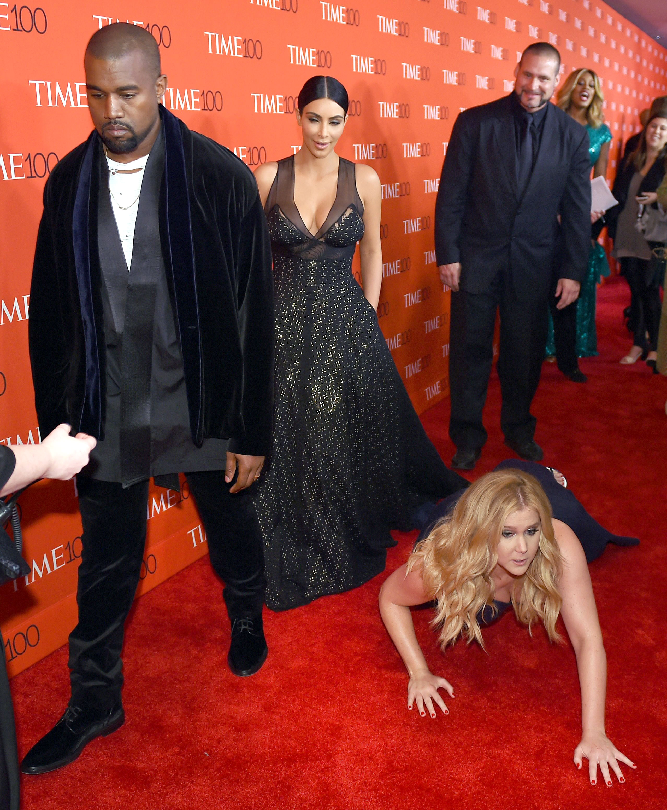 Revisit the 5 Most Kimye Things the Power Couple Have Done Ignoring Amy Schumer laying on the red carpet at 2015 Time 100 Gala - Amy Schumer purposely threw herself on the ground at the Time 100 Gala in April 2015 in front of honorees Kardashian and West. Their reaction?