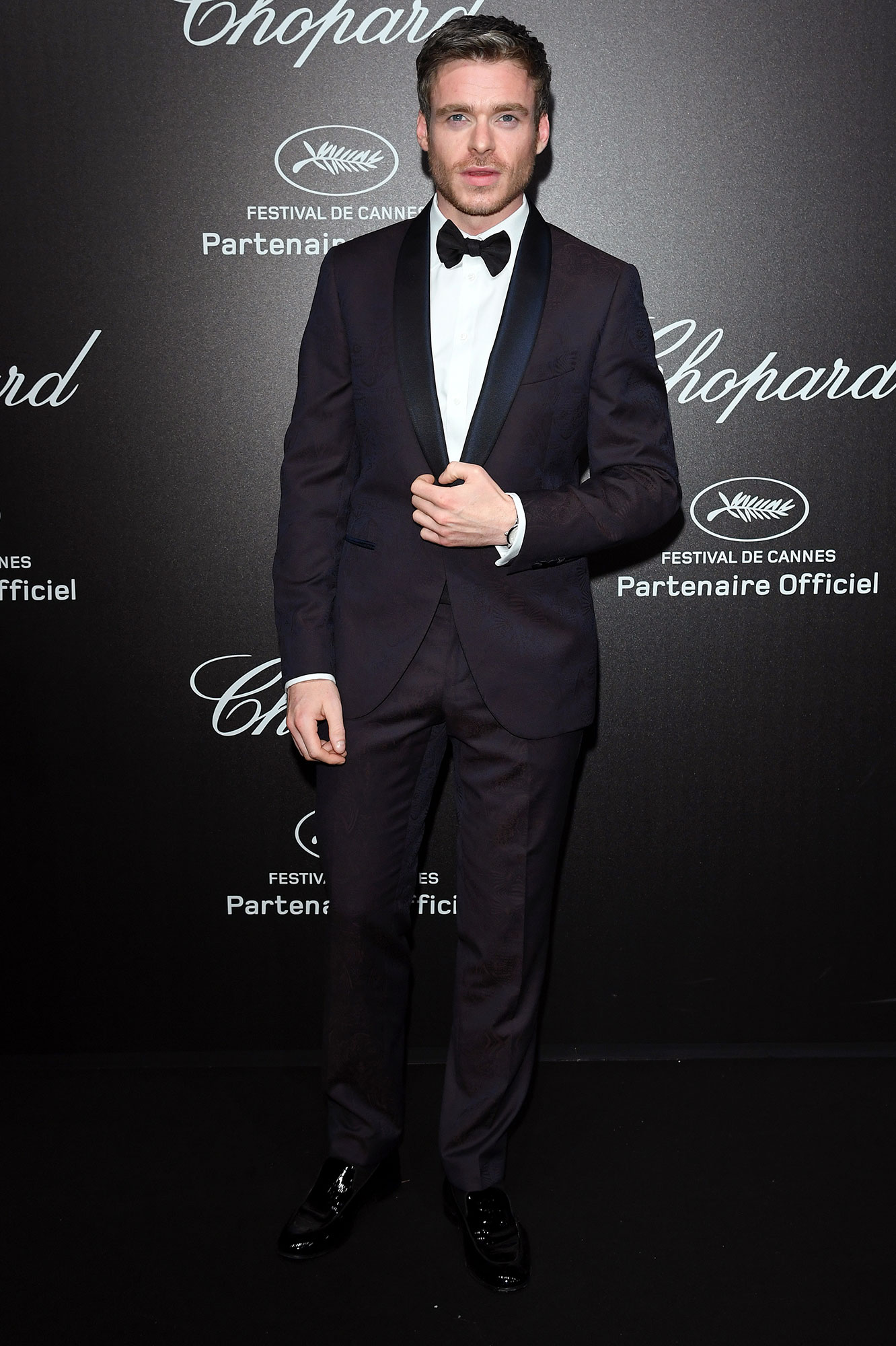 Richard Madden Cannes Film Festival 2019 Most Stylish Guys Red Carpet - The actor looked dapper in a black bowtie at the Chopard Love Night on Friday, May 17.