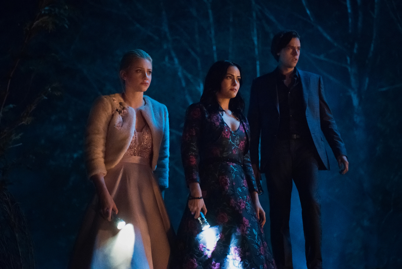 Riverdale Boss Answers Questions About Finale - Lili Reinhart as Betty, Camila Mendes as Veronica and Cole Sprouse as Jughead on The CW's 'Riverdale.