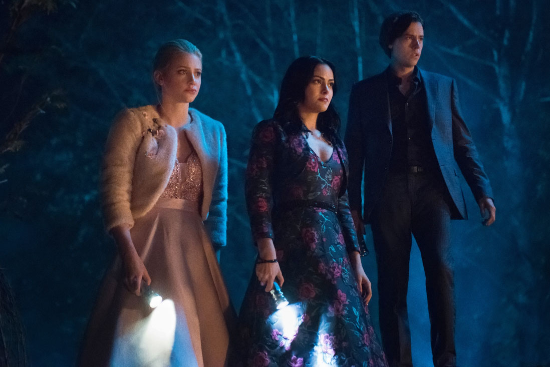 Riverdale Recap - (L-R) Lili Reinhart as Betty, Camila Mendes as Veronica and Cole Sprouse as Jughead.