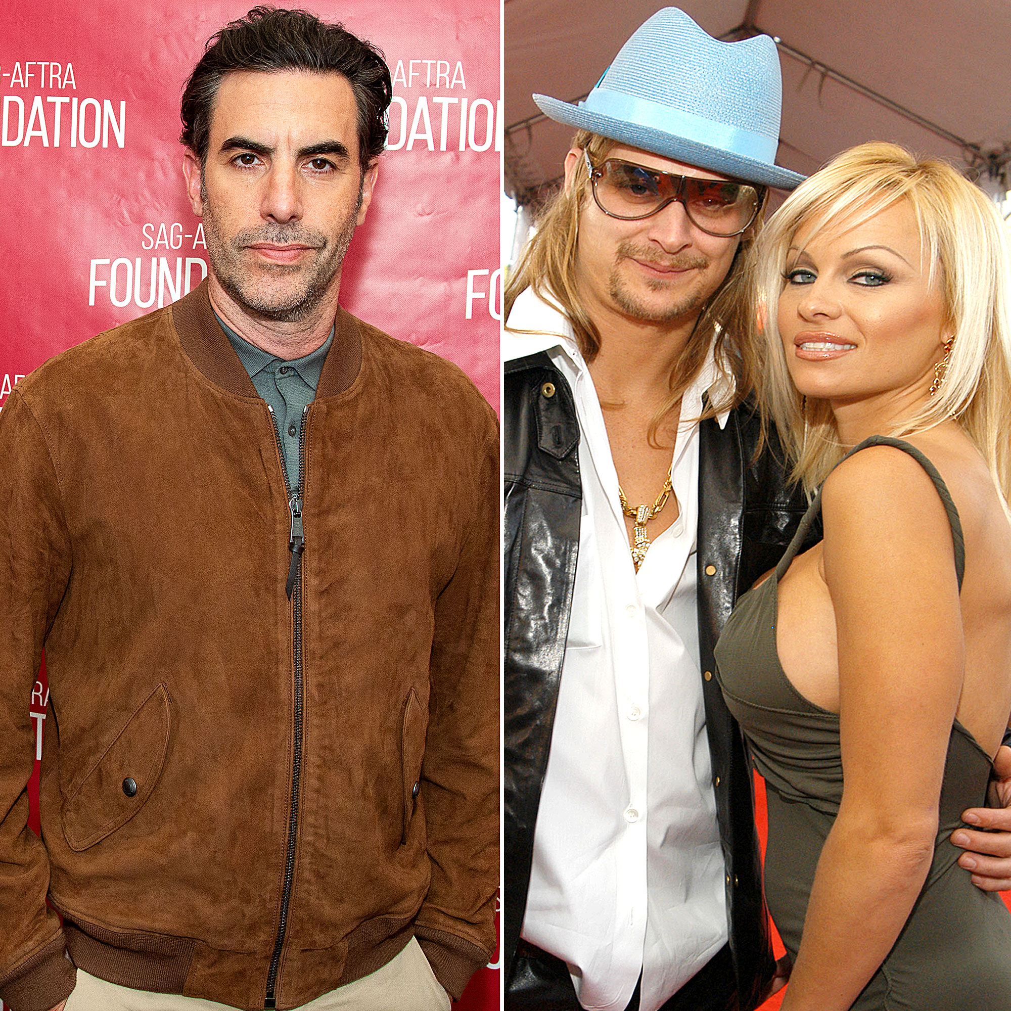 Sacha Baron Cohen Pam Anderson Kid Rock Split Over Borat Character - Sacha Baron Cohen, Kid Rock and Pam Anderson.