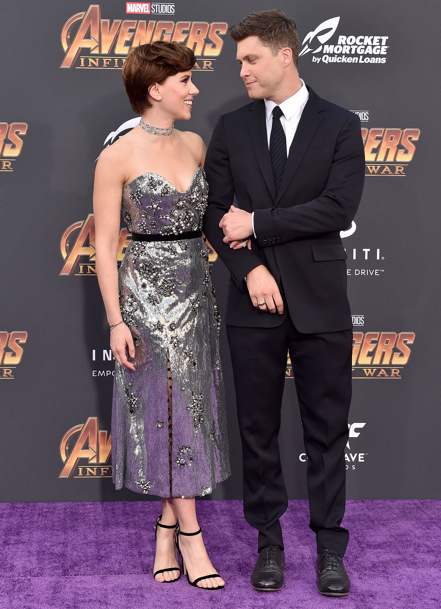 """Scarlett Johansson and Colin Jost Relationship Timeline Avengers Infinity War - Hours after telling Ellen DeGeneres that she is """"a Colin fan,"""" the actress brought her boyfriend to the Avengers: Infinity War premiere. """"Their eyes lit up when they looked at each other [on the red carpet],"""" an eyewitness told Us ."""