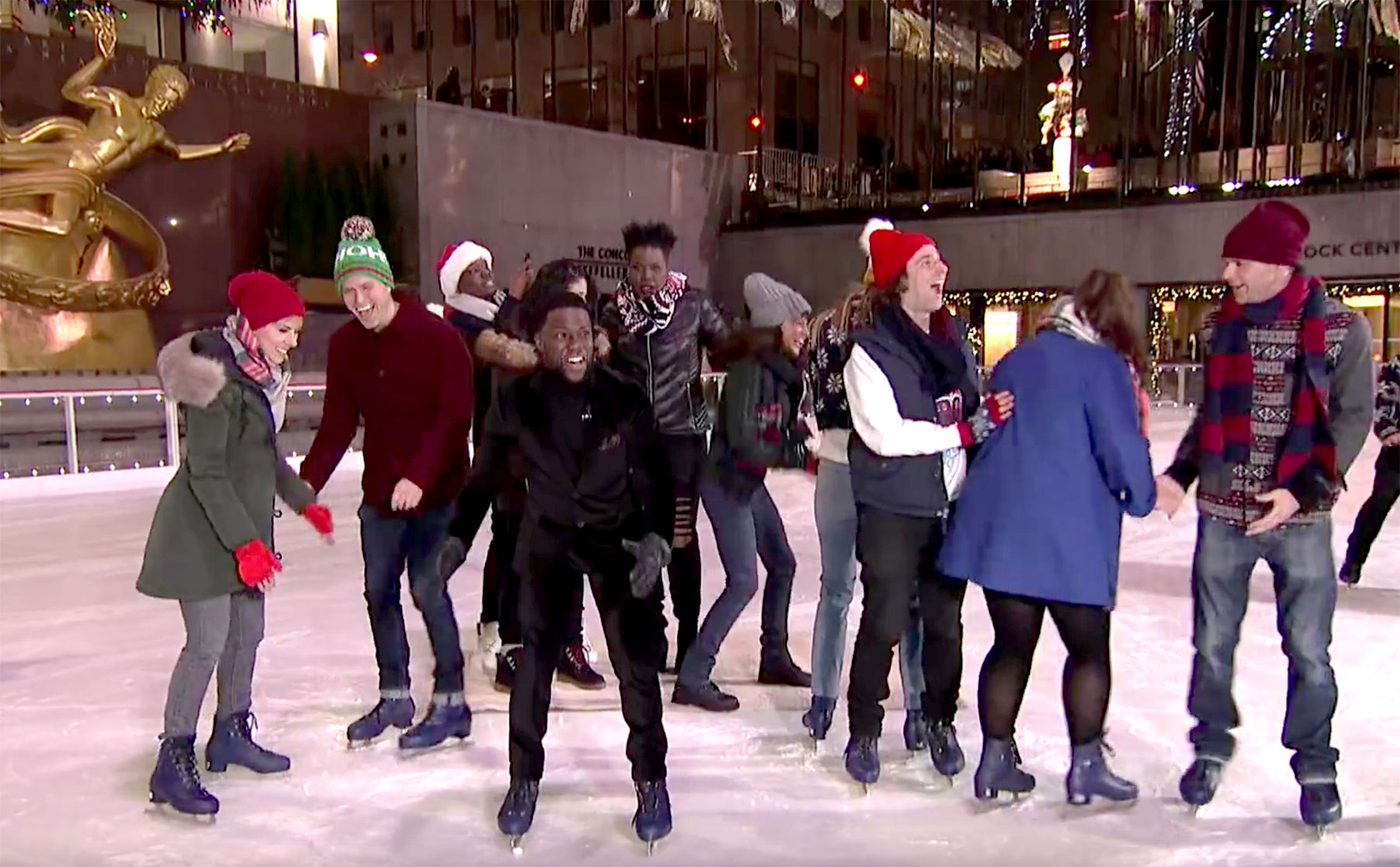 Scarlett Johansson and Colin Jost Relationship Timeline Saturday Night Live Ice Skating - The couple showed some PDA on the ice rink during the closing credits of SNL .