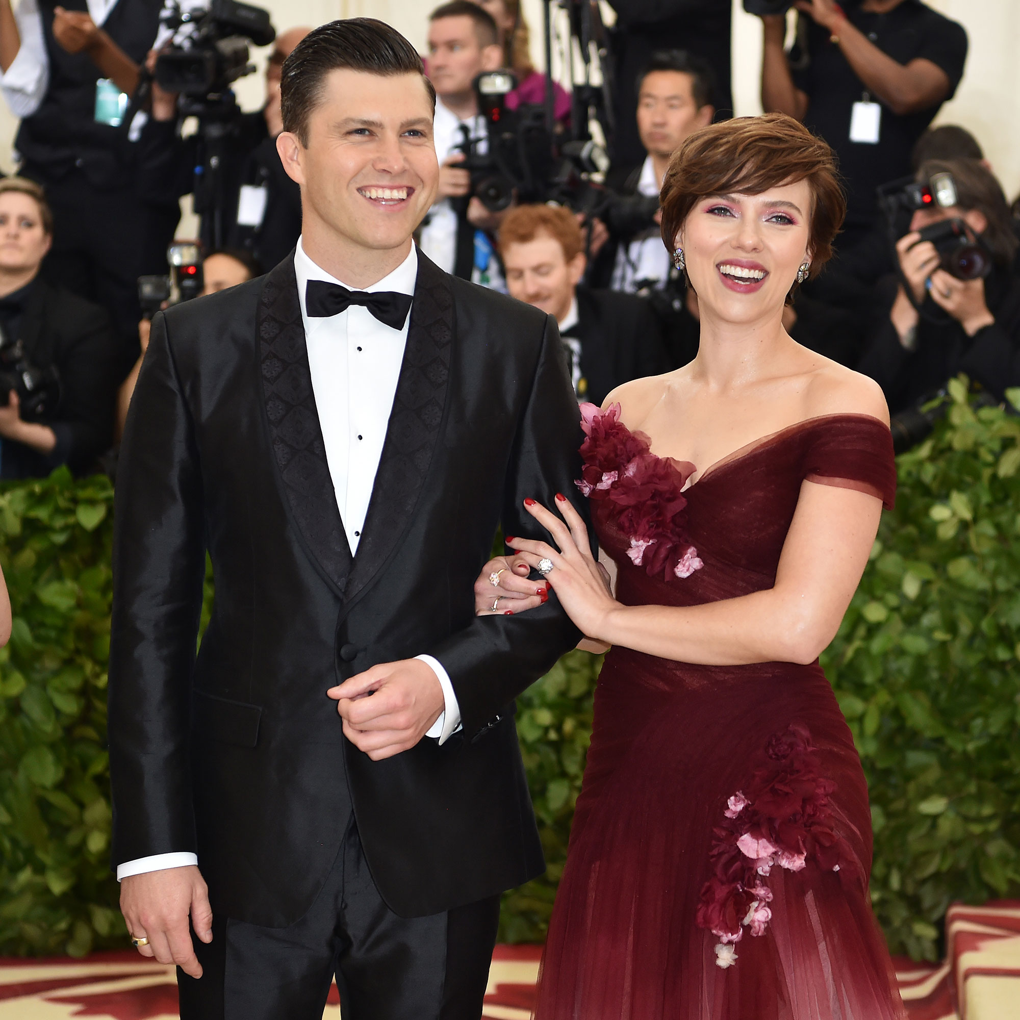Scarlett Johansson and Colin Jost Relationship Timeline - Scarlett Johansson and Colin Jost arrive for the 2018 Met Gala on May 7, 2018, at the Metropolitan Museum of Art in New York.