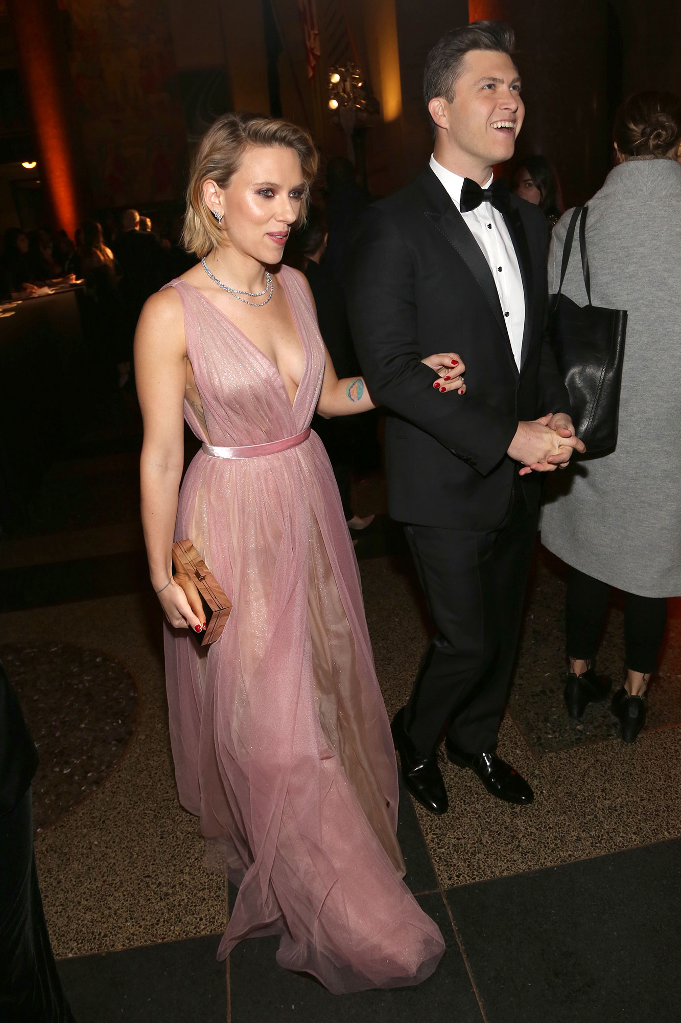 Scarlett Johansson and Colin Jost Relationship Timeline American Museum Of Natural History - The pair sparked dating rumors after they were spotted making out at a NYC bar.