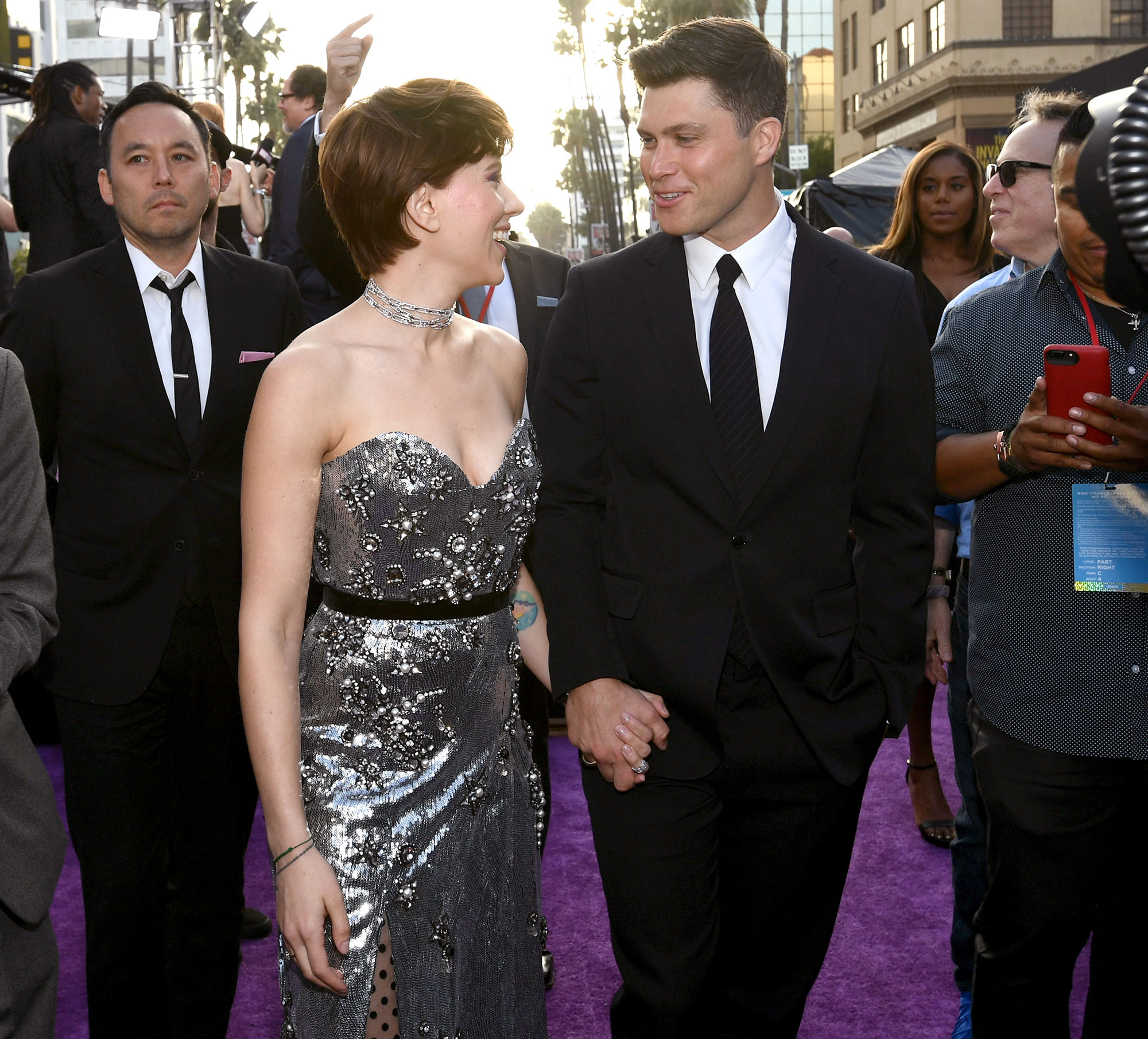 """Scarlett Johansson and Colin Jost Relationship Timeline Avengers Infinity War - The lovebirds returned to Long Island for a romantic date night at Indian Wells Tavern in Amagansett. """"They were holding hands as they sat across the table from each other when the server approached them,"""" an onlooker told Us ."""