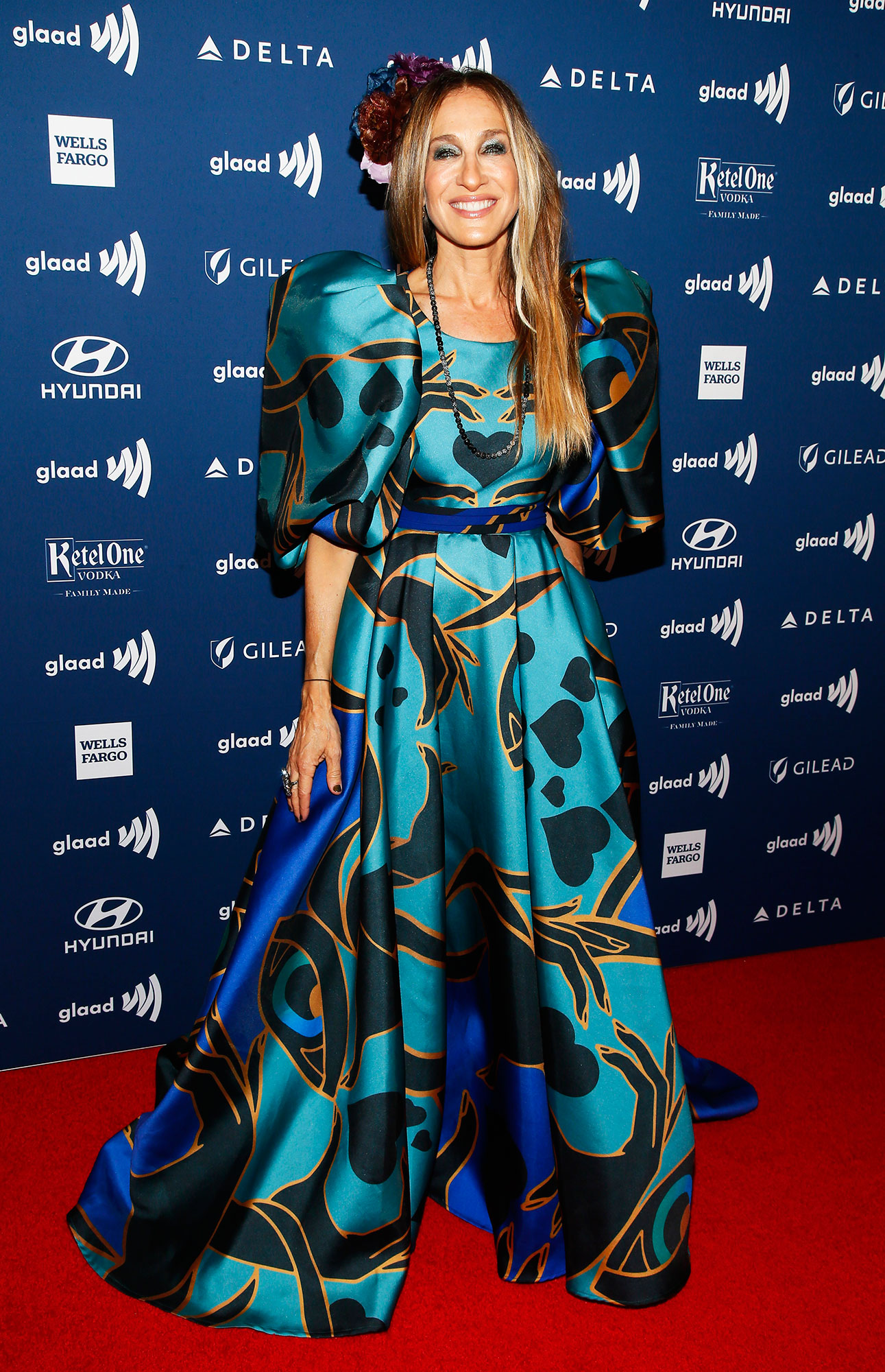 See the Stars at the GLAAD Awards Sarah Jessica Parker - Wearing a heart-printed Elie Saab gown.