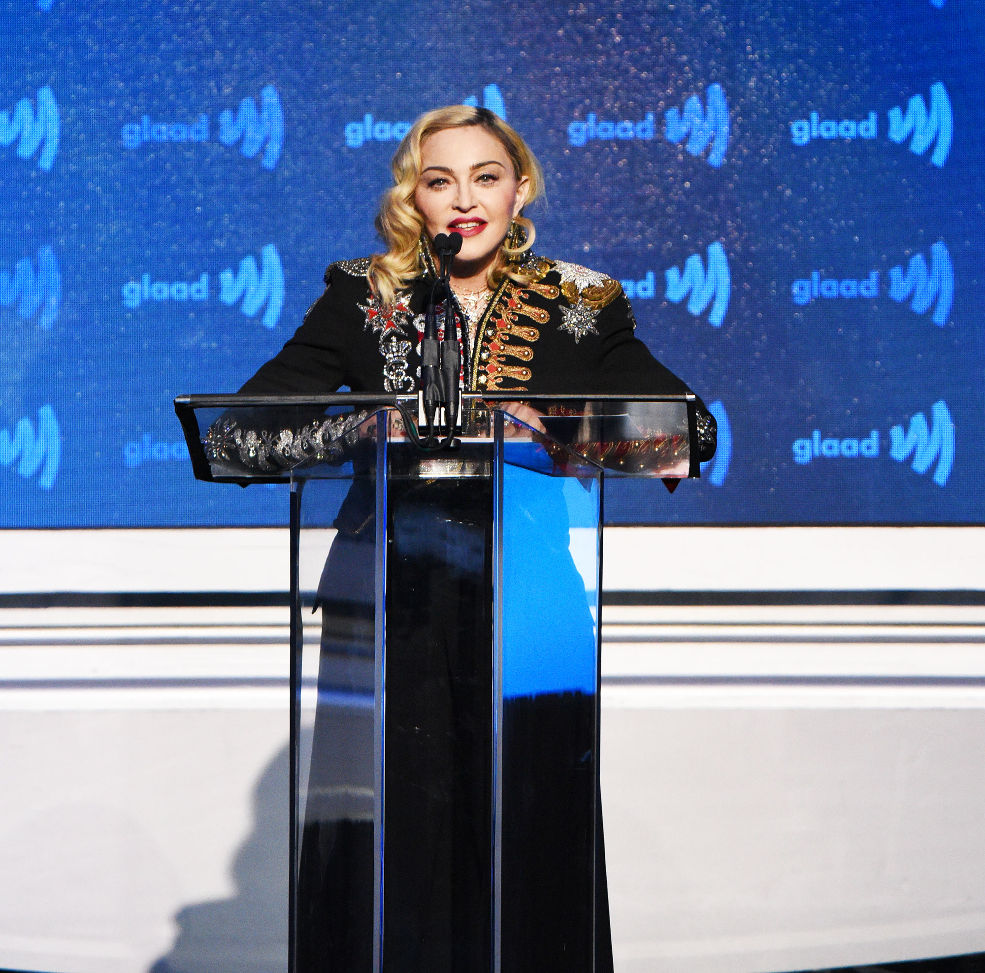See the Stars at the GLAAD Awards madonna - Wearing an Elizabeth Paris 1902 suit and MAE hat.