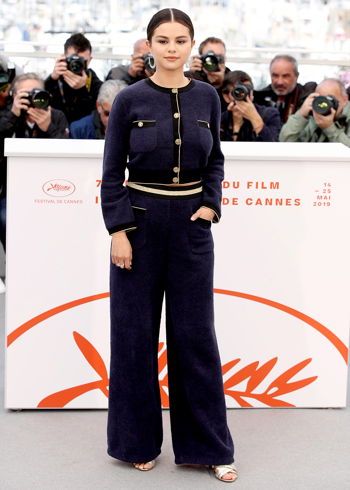 Selena-Gomez - The Dead Don't Die actress was nautical-chic in a terrycloth Chanel suit at the film's photo-call on Wednesday, May 15.