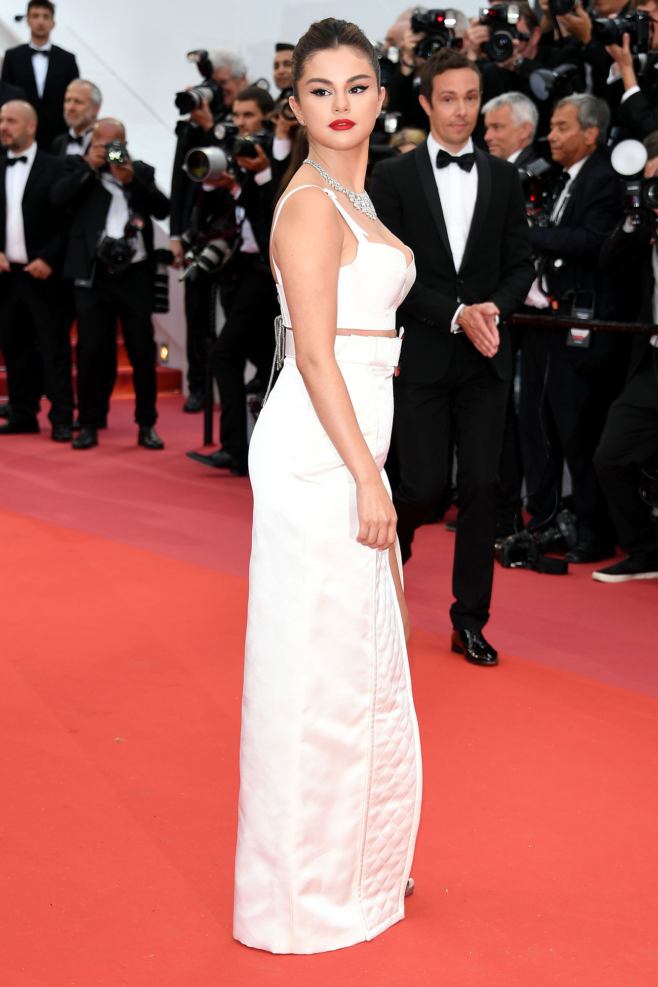 Selena Gomez Cannes - The movie star stunned in a white two-piece ensemble from Louis Vuitton.