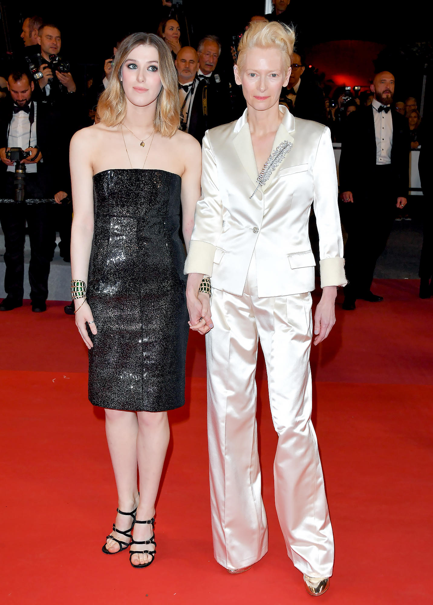 Swinton-Byrne-and-Tilda-Swinton - Like mother, like daughter! The duo made the Parasite red carpet a family affair on Thursday, May 21, in their complementary black-and-white ensembles.