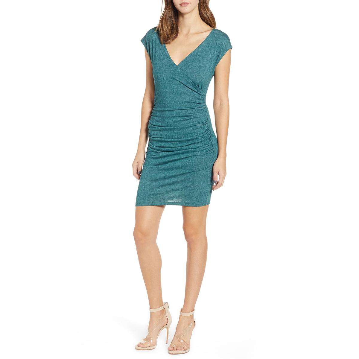 Teal Surplice Dress