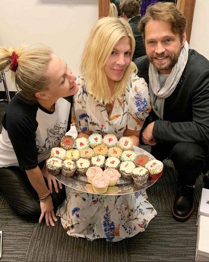 Tori Spelling Posts Pic With 'BH90210' Costars Amid Production Turmoil Jennie Garth, Tori Spellng Jason Priestly Birthday Instagram