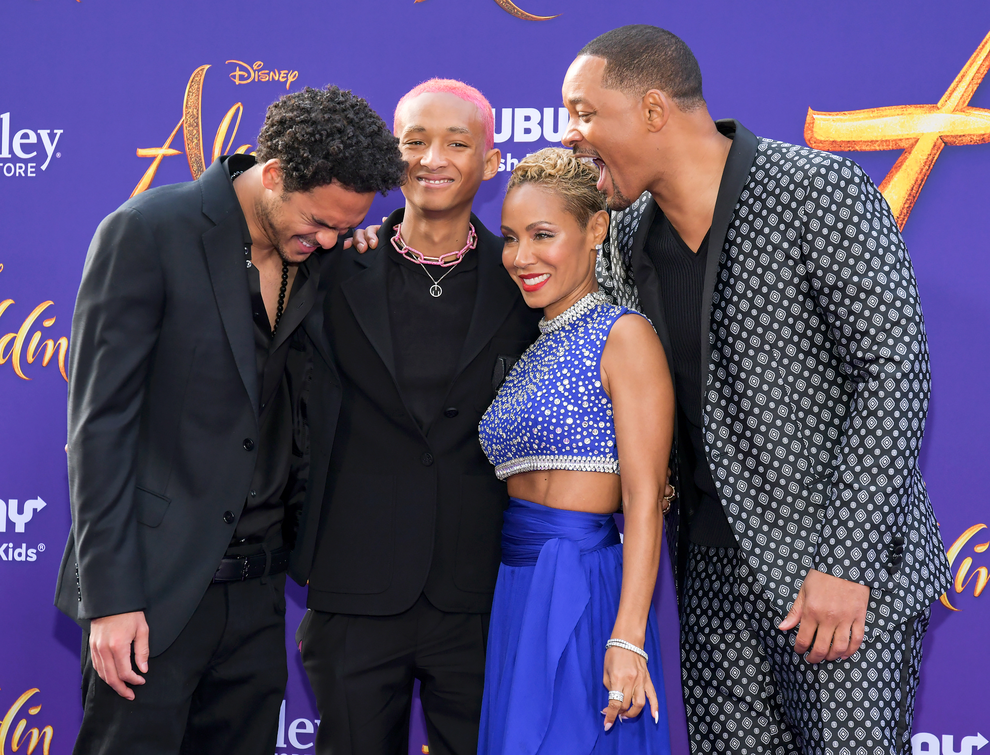 Trey-Smith,-Jaden-Smith,-Jada-Pinkett-Smith,-and-Will-Smith-Aladdin-premiere - Trey cracked up on the carpet while posing with Will, Jaden and Jada.