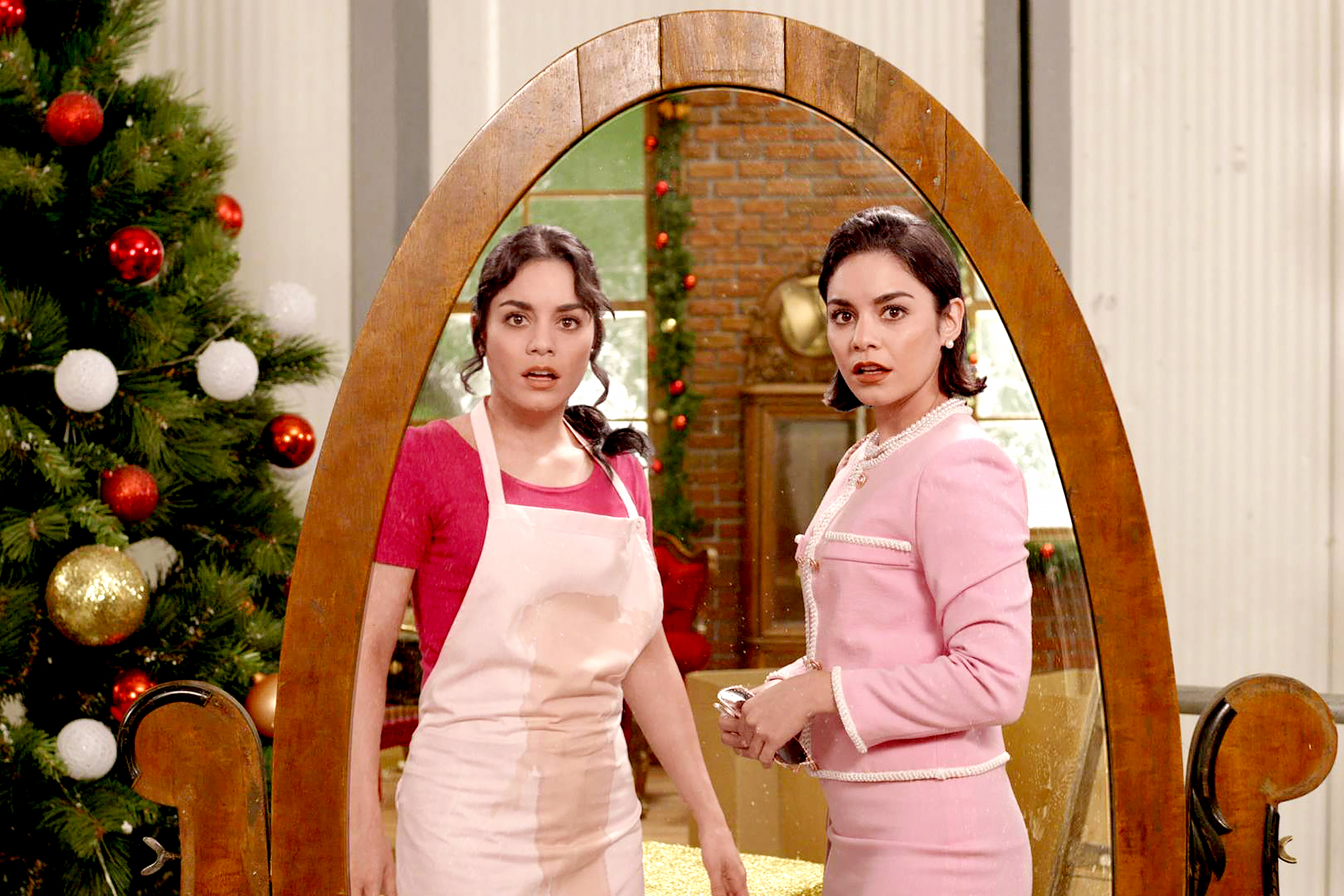 Vanessa-Hudgens-The-Princess-Switch - The Disney alum pulled double duty for 2018's Hallmark flick, The Princess Switch , playing both Chicago-based baker Stacy DeNovo and Lady Margaret Delacourt — the fiancée of the crowned prince of Montenaro — who just so happens to be her doppleganger.
