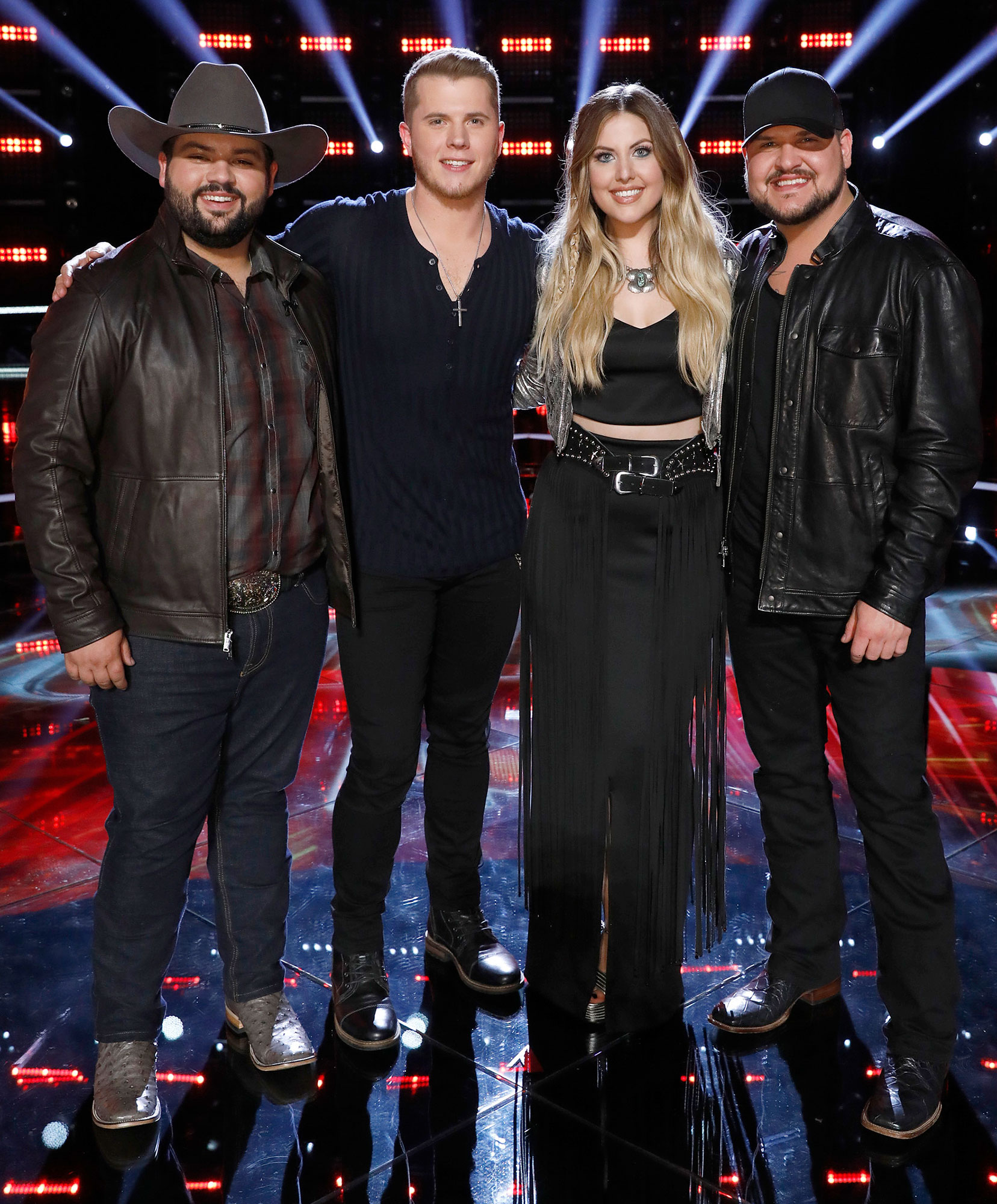 Voice Andrew Sevener, Gyth Rigdon, Maelyn Jarmon, Dexter Roberts Who Wins - (L-R) Andrew Sevener, Gyth Rigdon, Maelyn Jarmon, Dexter Roberts pose for a photo during an episode of 'The Voice.