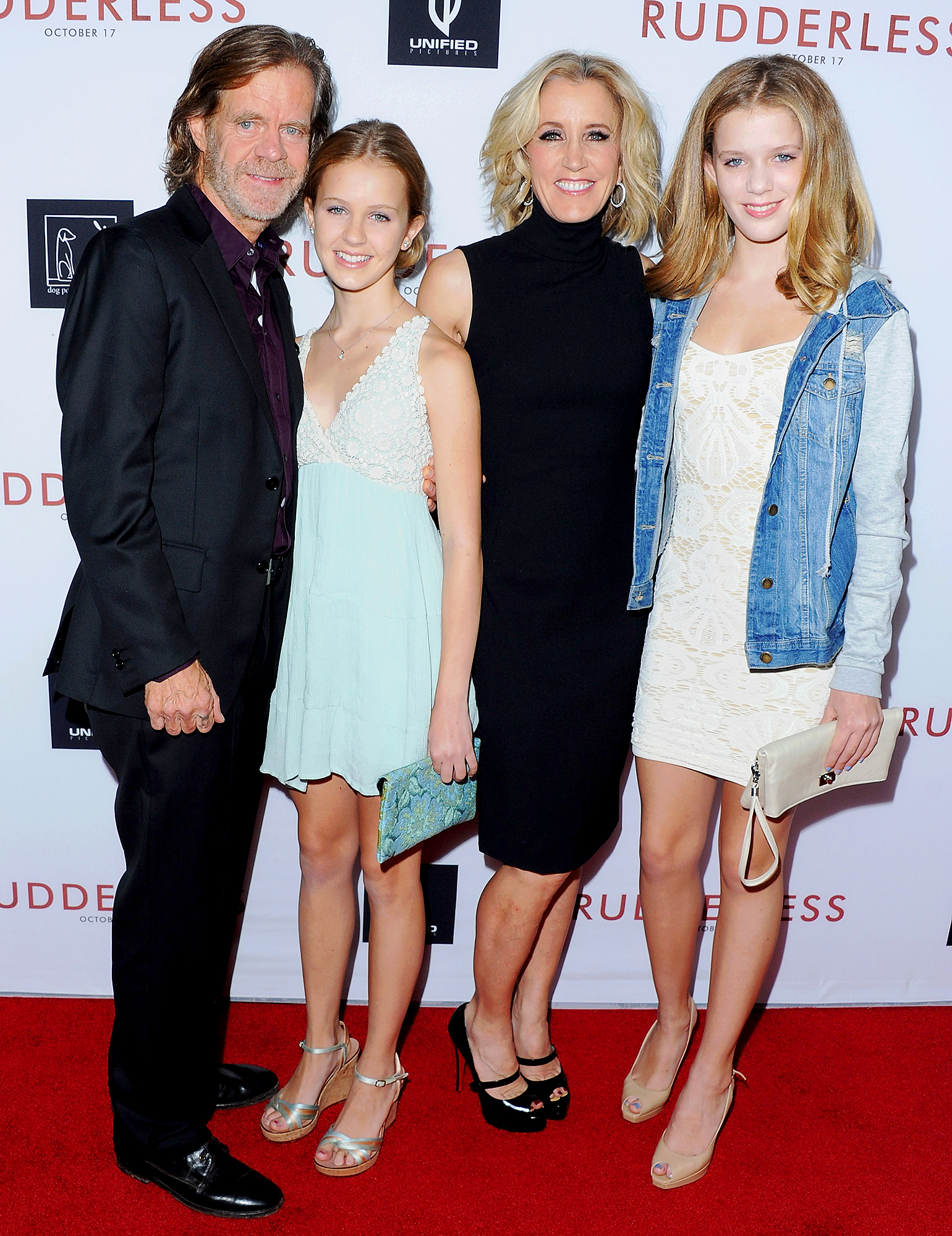 William-H.-Macy,-daughter-Georgia-Macy,-Actress-Felicity-Huffman-and-daughter-Sophia-Macy