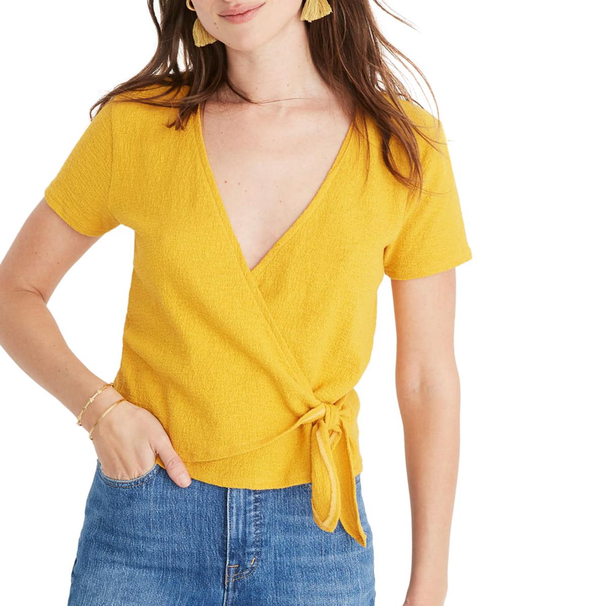 Yellow Wrap Top