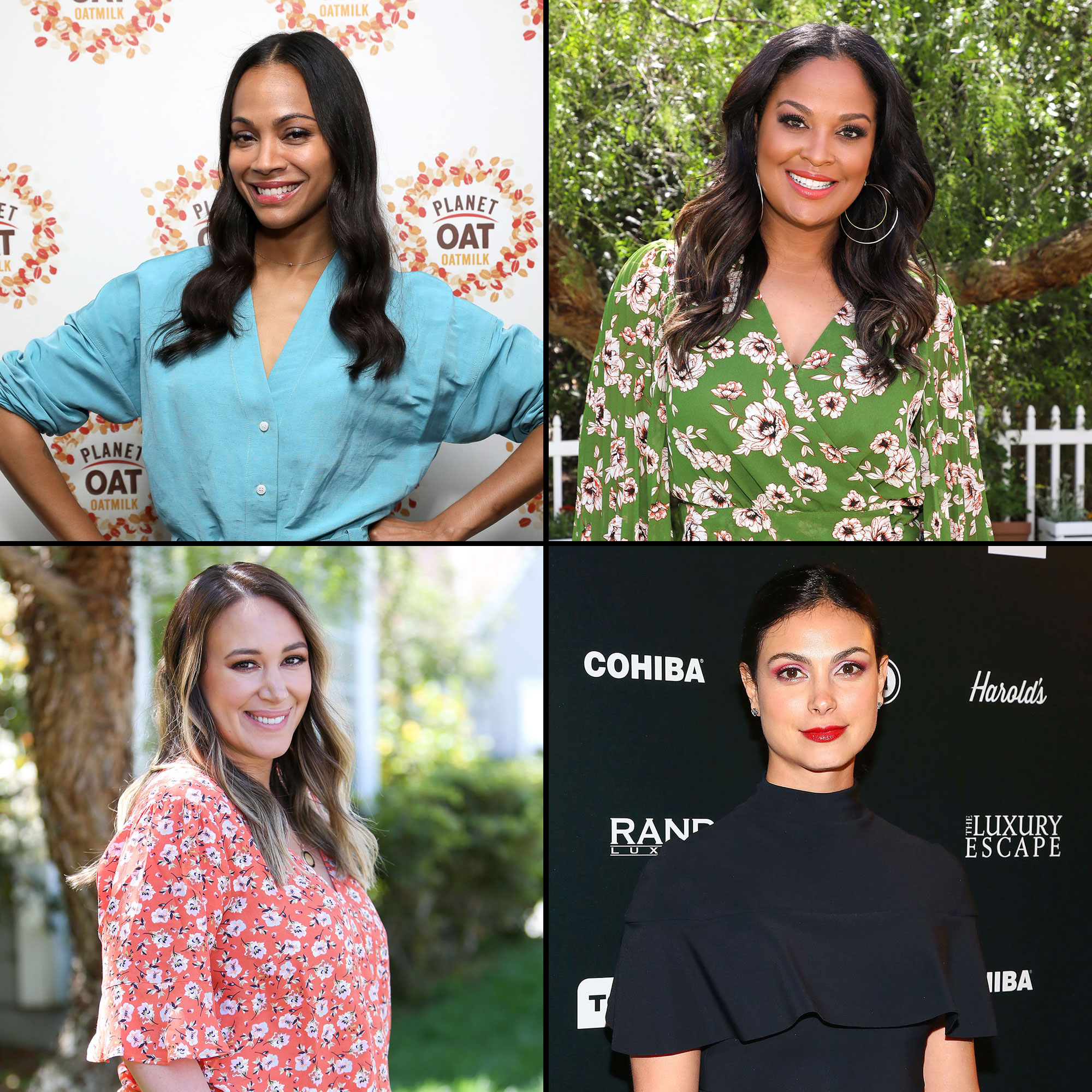 """Zoe, Morena Baccarin, Laila Ali, Haylie Duff Mothers Advice - Zoe Saldana and Planet Oat oatmilk celebrate the product's national launch and planetarium themed pop-ups that will show all the """"out of this world"""" items you can make with Planet Oat at the Kimpton Hotel Palomar on Tuesday, April 23, 2019 in Los Angeles. (Photo by Mark Von Holden/Invision for Planet Oat/AP Images)"""