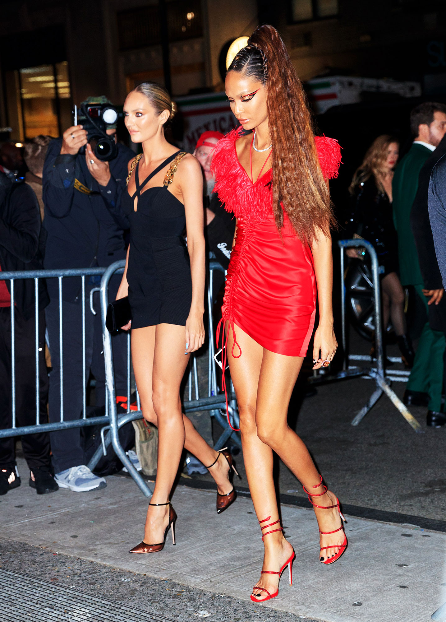 Candice Swanepoel, Joan Smalls after party met gala 2019 - The Victoria's Secret Angels walked hand-in-hand in sparkly short numbers, looking ready to dance the night away.