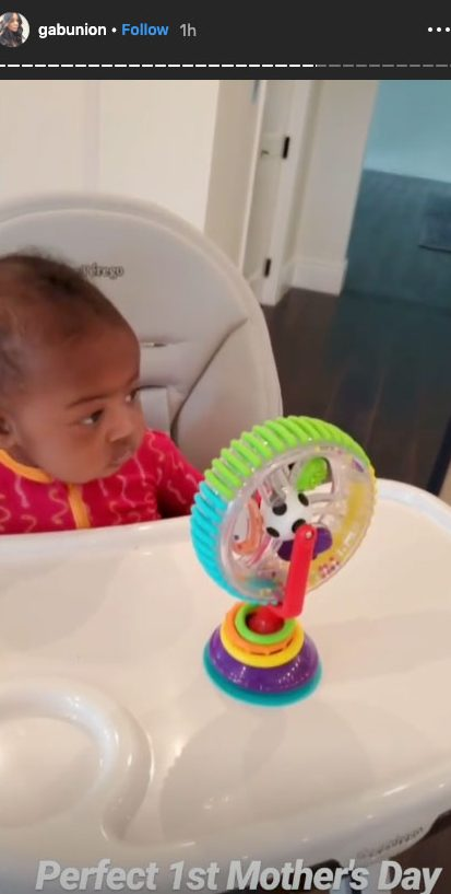 """celebrity mothers day 2019 Gabrielle Union - """"Perfect 1st Mother's Day,"""" the Breaking In actress captioned a series of Instagram Stories that showed her little girl as well as the former NBA star rocking a """"Shady Baby Dad"""" T-shirt."""