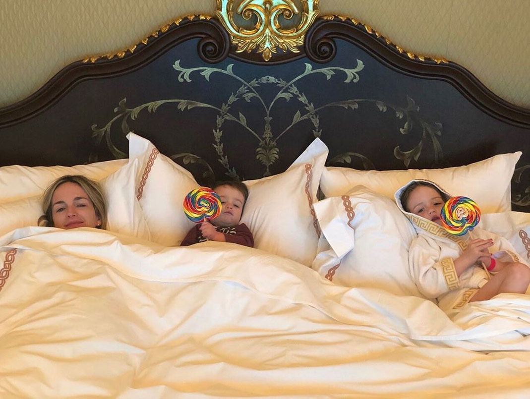 """celebrity mothers day 2019 Molly Kimmel - Jimmy Kimmel went with a humorous shoutout to his wife. """"Happy #MothersDay to every Mom, especially my own Mom and my beloved bride Molly who always makes sure our kids stay active and healthy! (Giant bed pictured not ours),"""" he shared on a photo of his wife and kids eating giant lollipops and lounging in bed."""