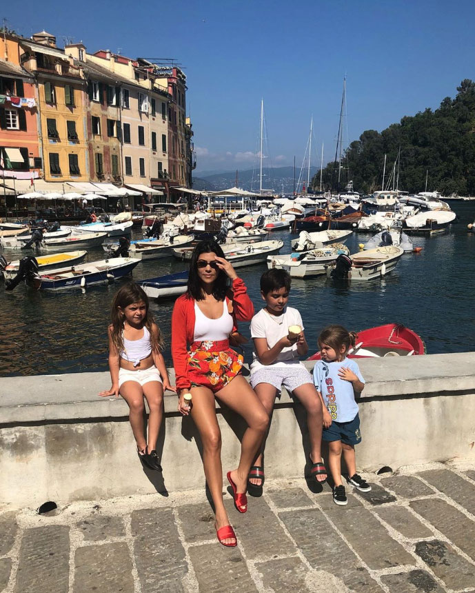 """celebrity mothers day 2019 Kourtney Kardashian - """"My heartbeat,"""" the Poosh founder wrote alongside a picture of her three kids: Mason, Penelope and Reign."""