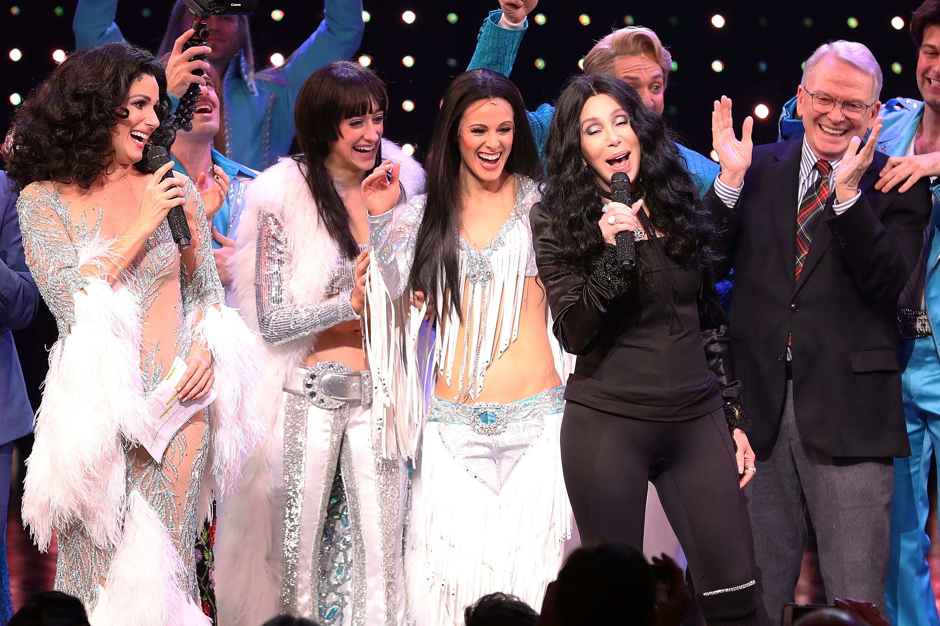 Cher Through The Years - After previews in Chicago, The Cher Show moved to Broadway with three actresses playing Cher in three stages of her life: Stephanie J. Block , Teal Wicks and Micaela Diamond .