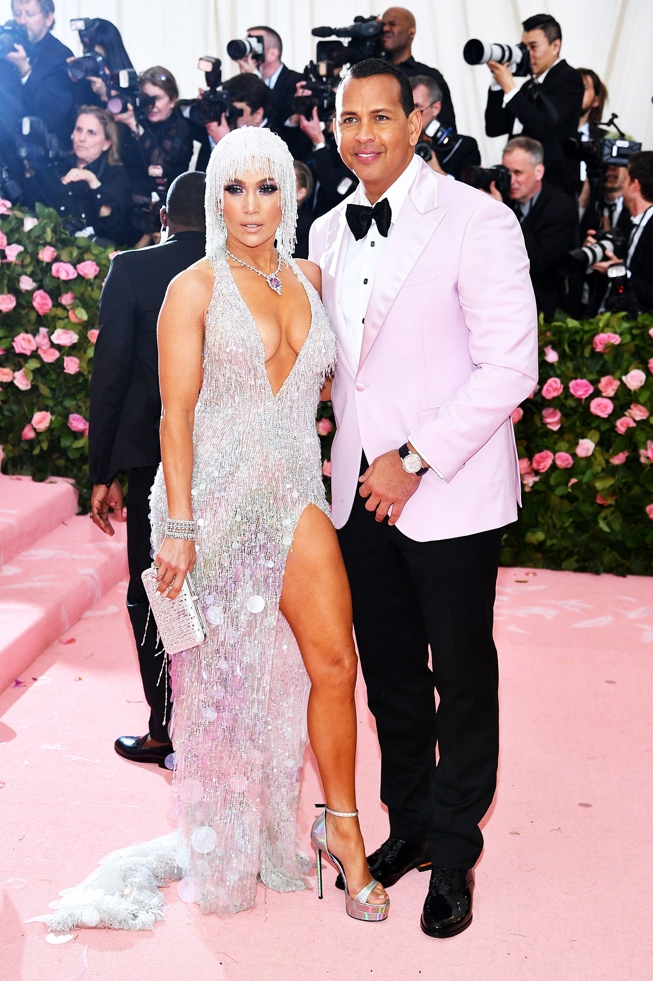 Jennifer Lopez and Alex Rodriguez met gala 2019 couples - JLo dazzled in a blingy Versace look, while her fiancé matched the carpet in pink.