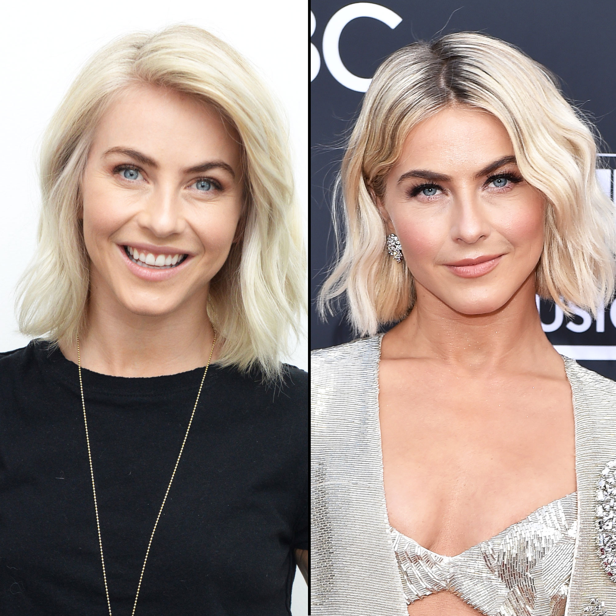 """Julianne Hough hair transformation - At the Billboard Music Awards on May 1, the blonde beauty showed off her fresh """"blunt, thick"""" bob courtesy of long-time stylist Riawna Capri. """"She wanted to grow it out,"""" Capri explained in a statement."""