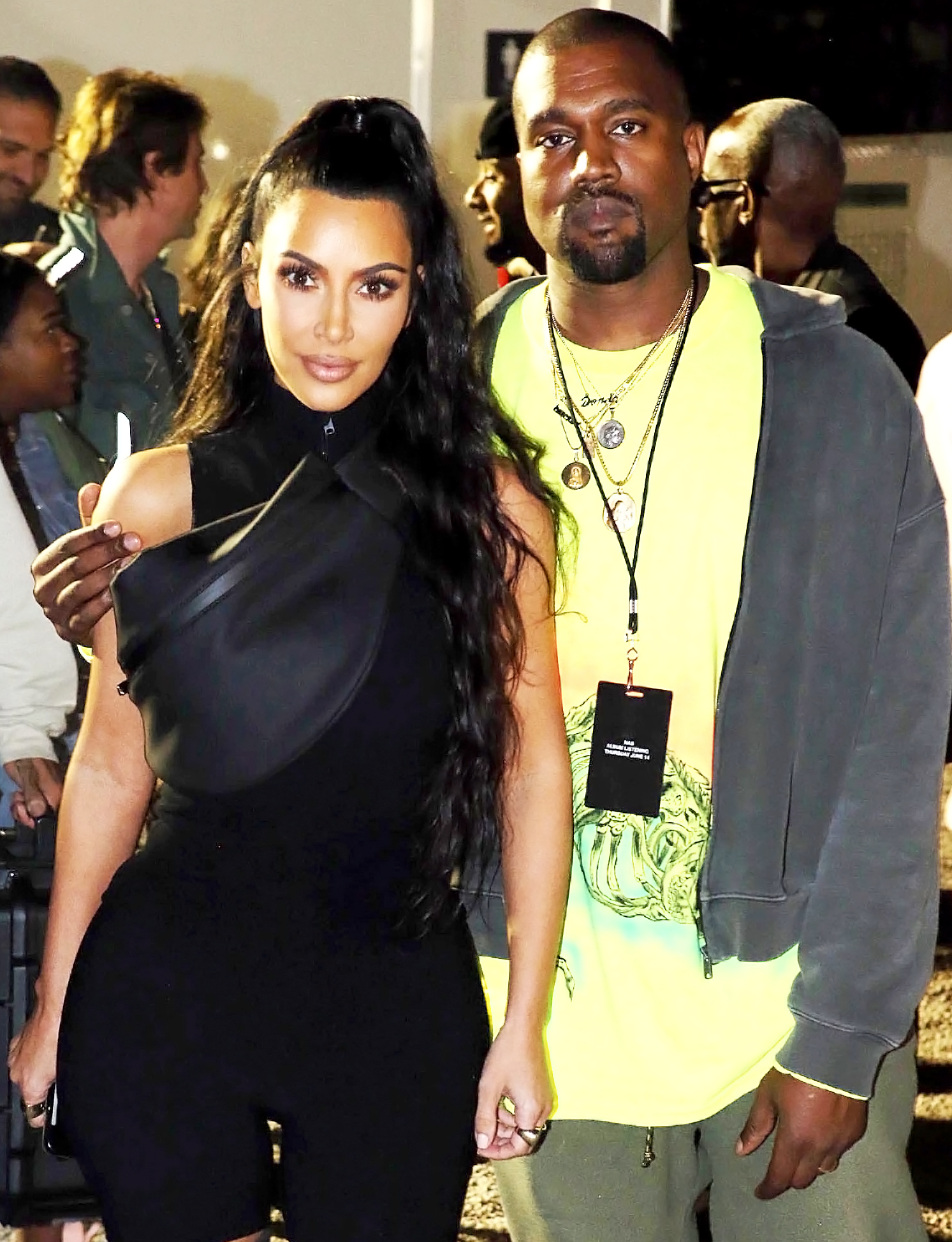 """Kim Kardashian and Kanye West's Son Psalm's Birth Certificate Reveals He Had Same Doctor as Siblings - Kim Kardashian West and Kanye West attend the Nas """"Nasir"""" Album Listening Session on June 14, 2018 in New York City."""