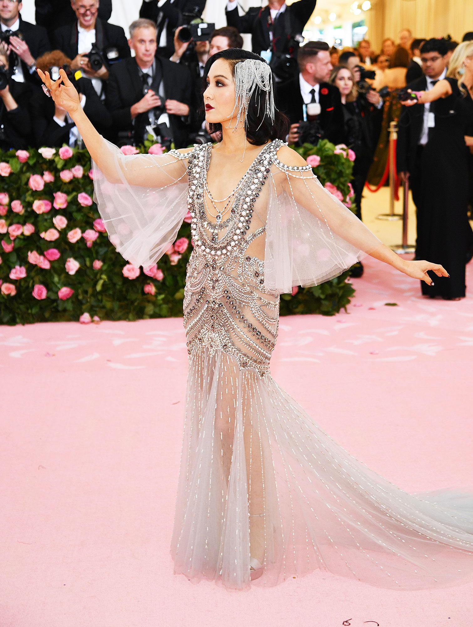 Constance Wu met gala 2019 - Wearing a crystal-embellished Marchesa gown with Stuart Weitzman platforms.