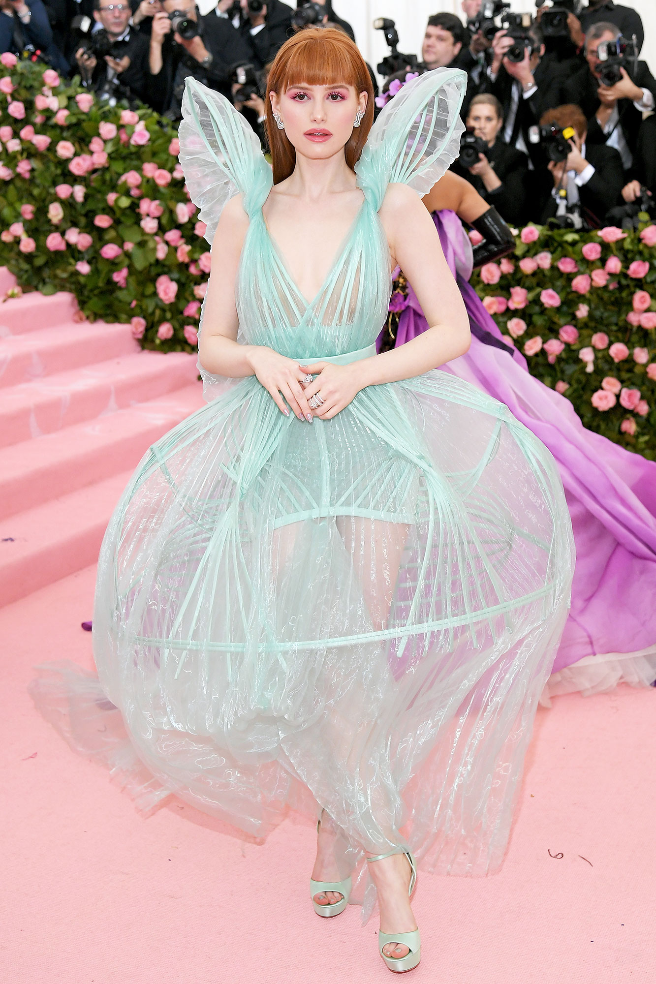Madelaine Petsch met gala 2019 - Wearing a sculptural light blue tulle gown with Jimmy Choo platforms.