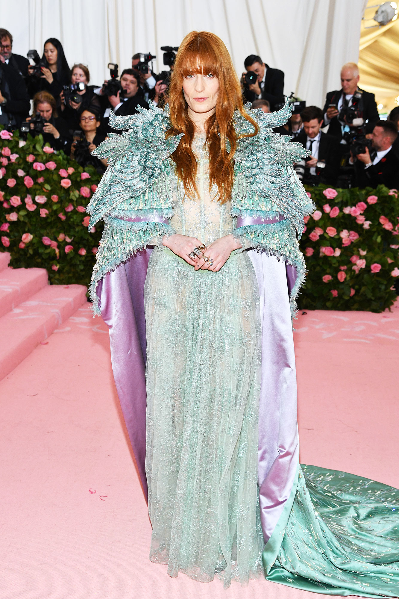 Florence Welch met gala 2019 - Wearing an avian-inspired teal Gucci design.