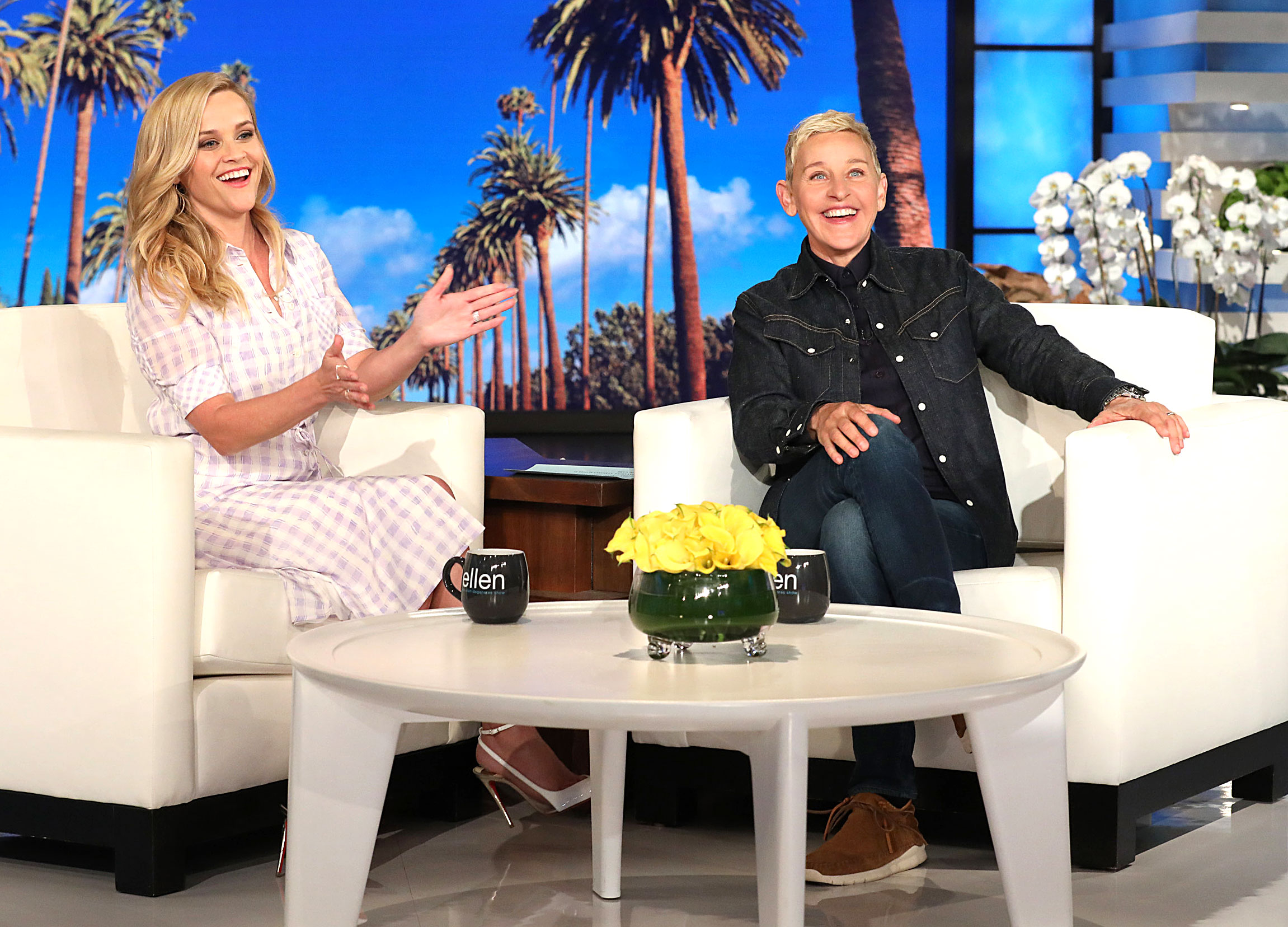 """Reese Witherspoon Legally Blonde 3 Talking About It Ellen - Reese Witherspoon appears on """"The Ellen DeGeneres Show"""" at the Warner Bros. lot in Burbank, California."""