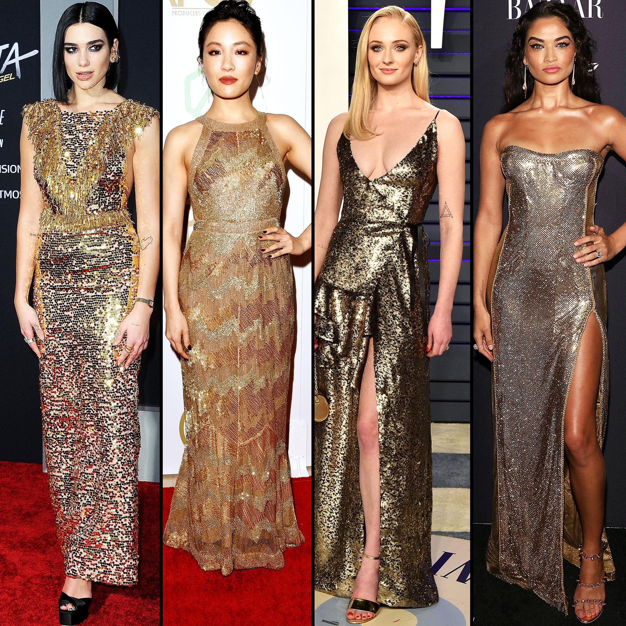 stylish gold Dua Lipa, Constance Wu, Sophie Turner, and Shanina Shaik - Dua Lipa, Constance Wu, Sophie Turner, and Shanina Shaik