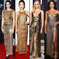 stylish gold Dua Lipa, Constance Wu, Sophie Turner, and Shanina Shaik