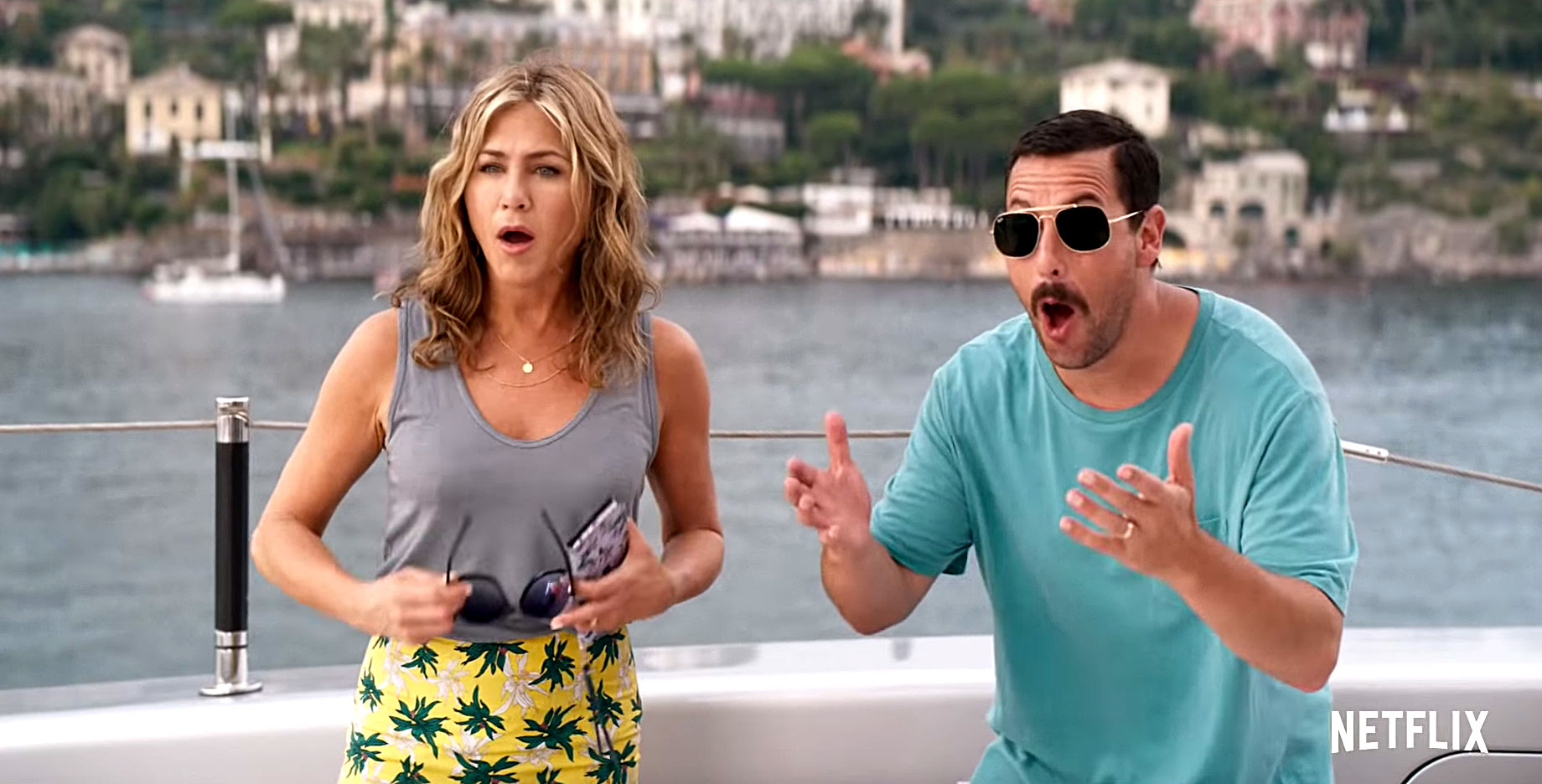 Can't Miss Summer Movie Preview - Adam Sandler and Jennifer Aniston , who costarred in 2011's Just Go With It , team up as a married couple who get caught in a whodunit while on vacation. (Netflix, June 14)