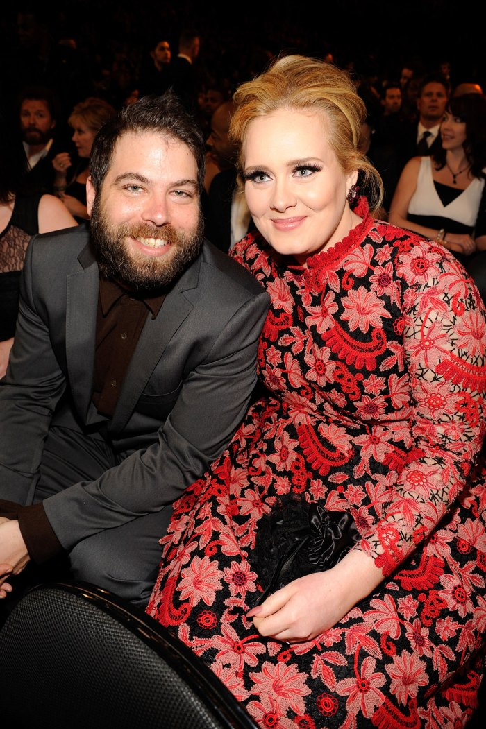 Adele in a Red Flower Dress and Simon Konecki