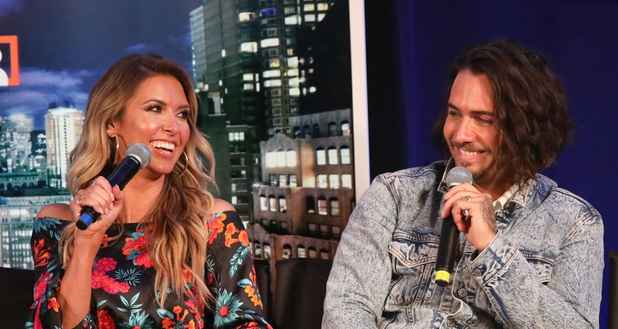 Audrina-Patridge-Flirts-With-Justin-Bobby-Brescia-To-Help-With-Her-Divorce-Interview-Microphone-Smile Flower Dress Denim Jacket