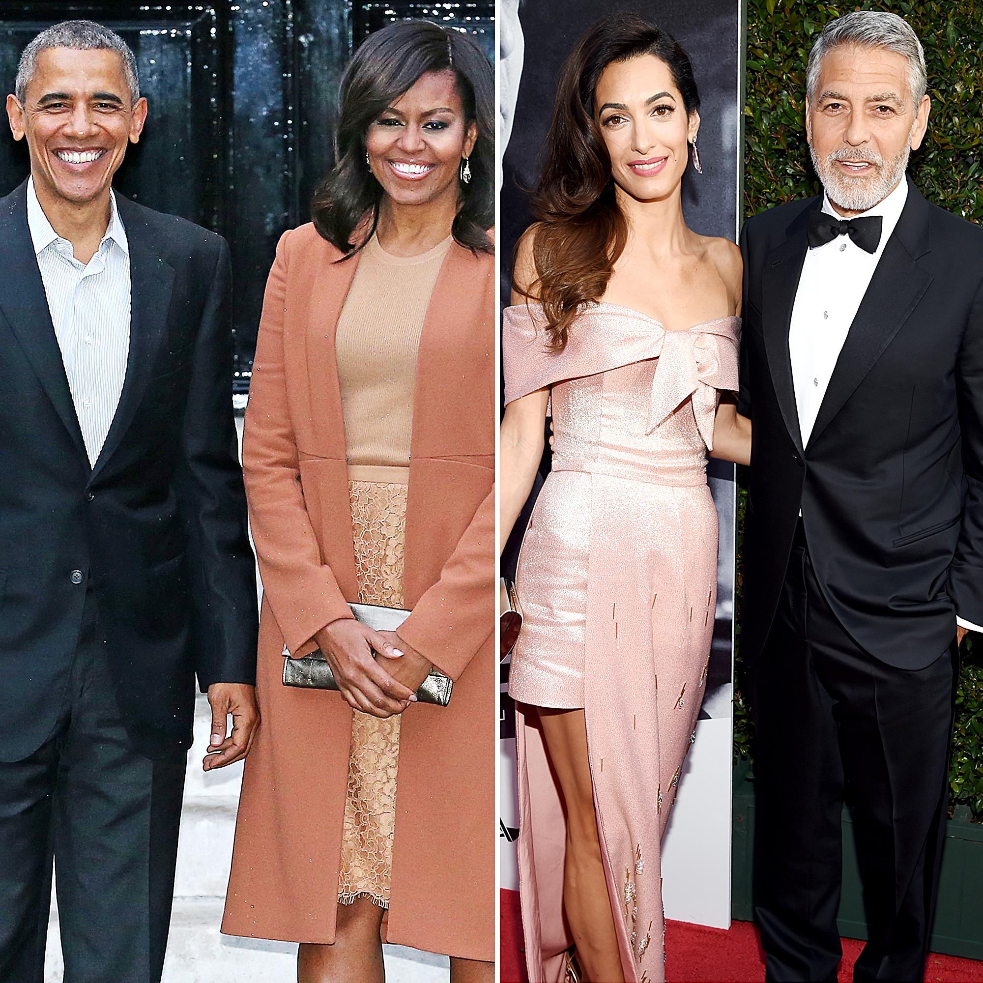 Barack, Michelle Obama Hang With George, Amal Clooney in