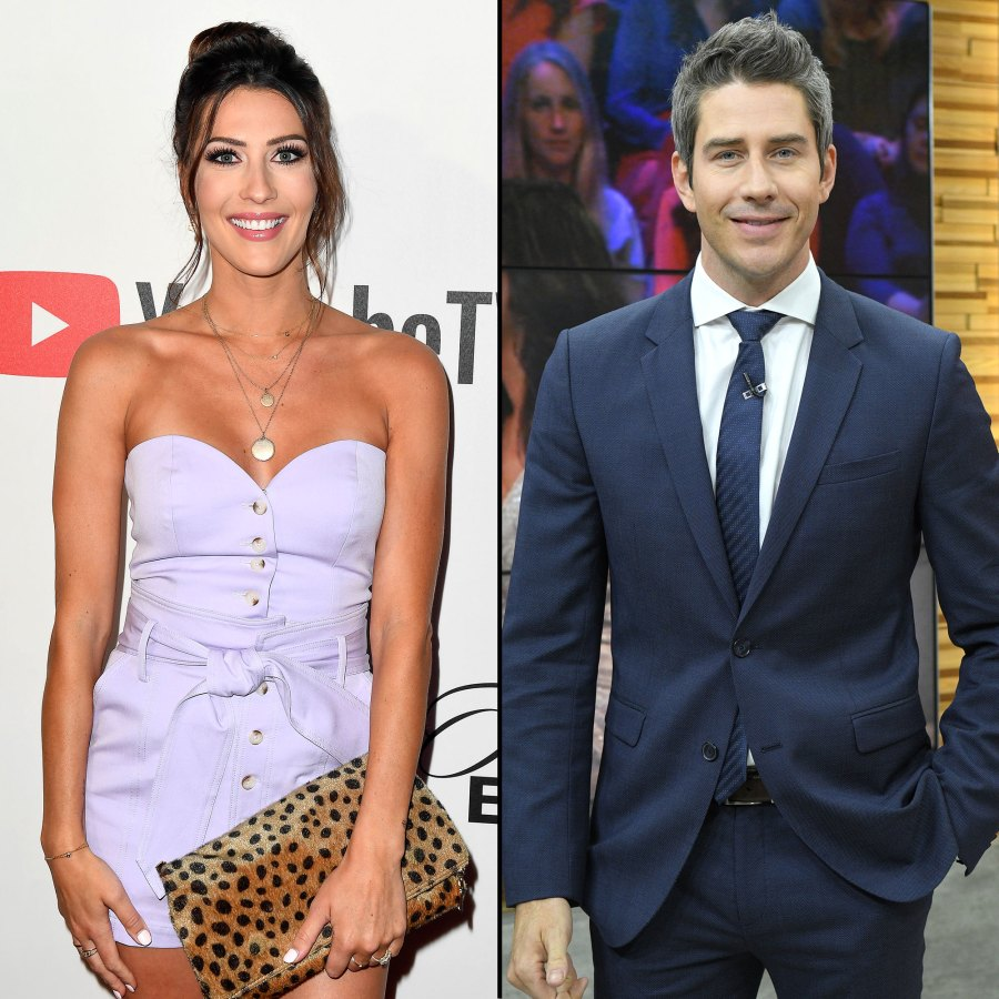 Becca Kufrin Holds A Leopard Purse Handbag and Arie Luyendyk Jr. Wears A Blue Tie and Blue Suit