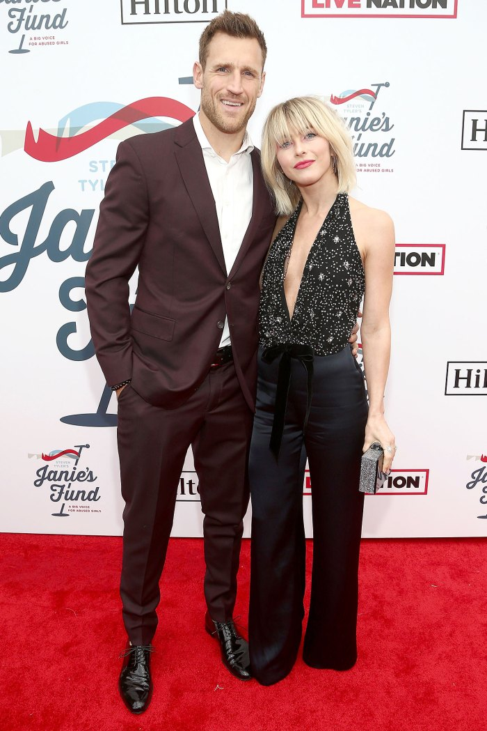 Brooks Laich Wears A Brown Suit and White Shirt and Julianne Hough